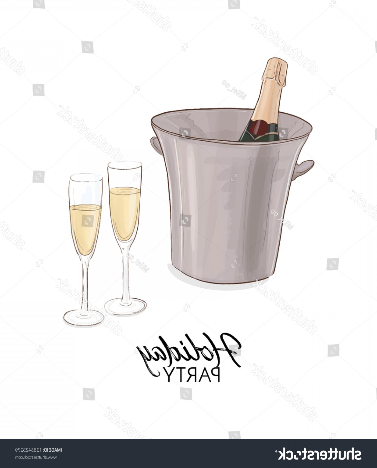 Vector Champagne Party: Champagne Bottle Ice Bucket Vector Illustration