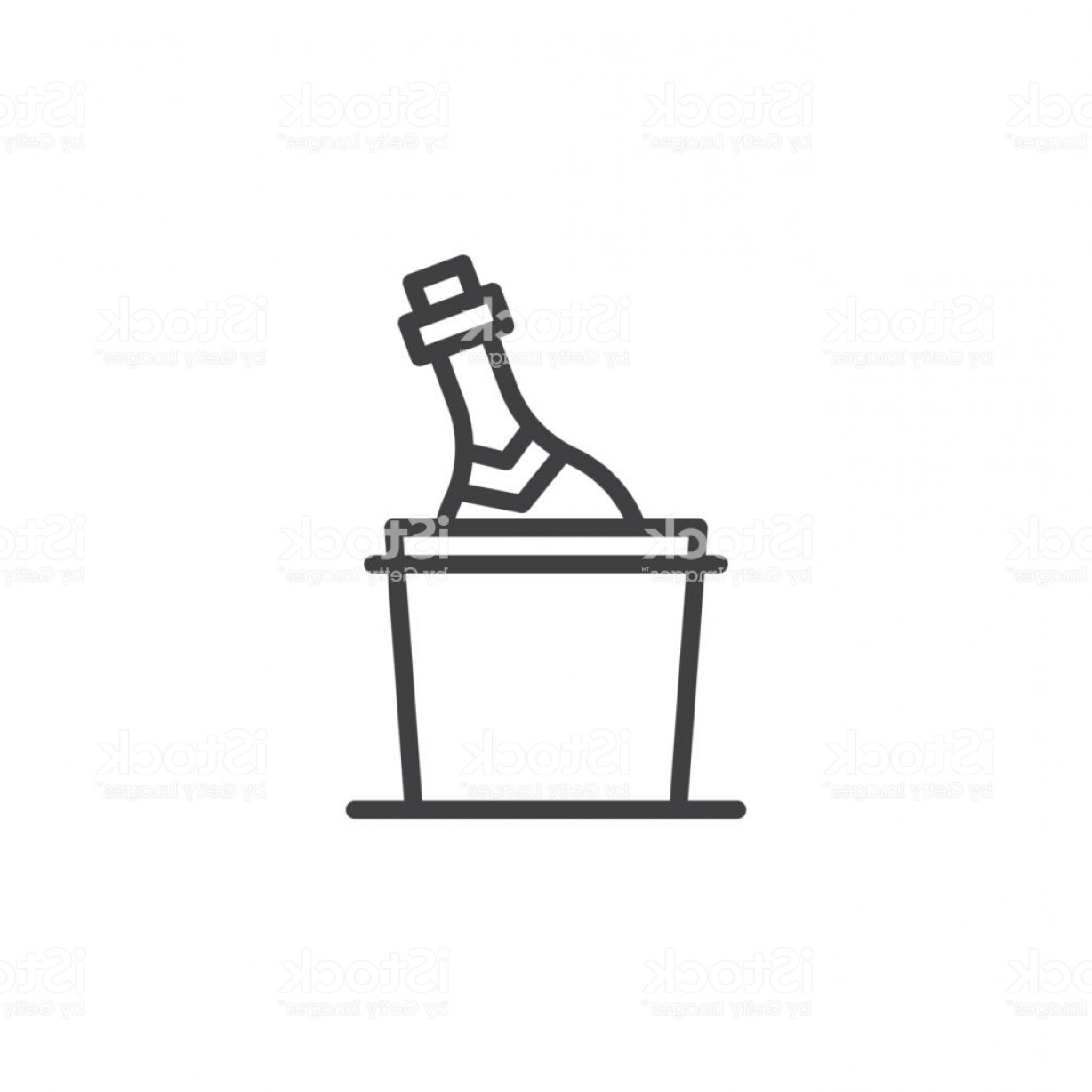 Champagne Vinyl Plotter Vector Art: Champagne Bottle In A Bucket With Ice Line Icon Gm