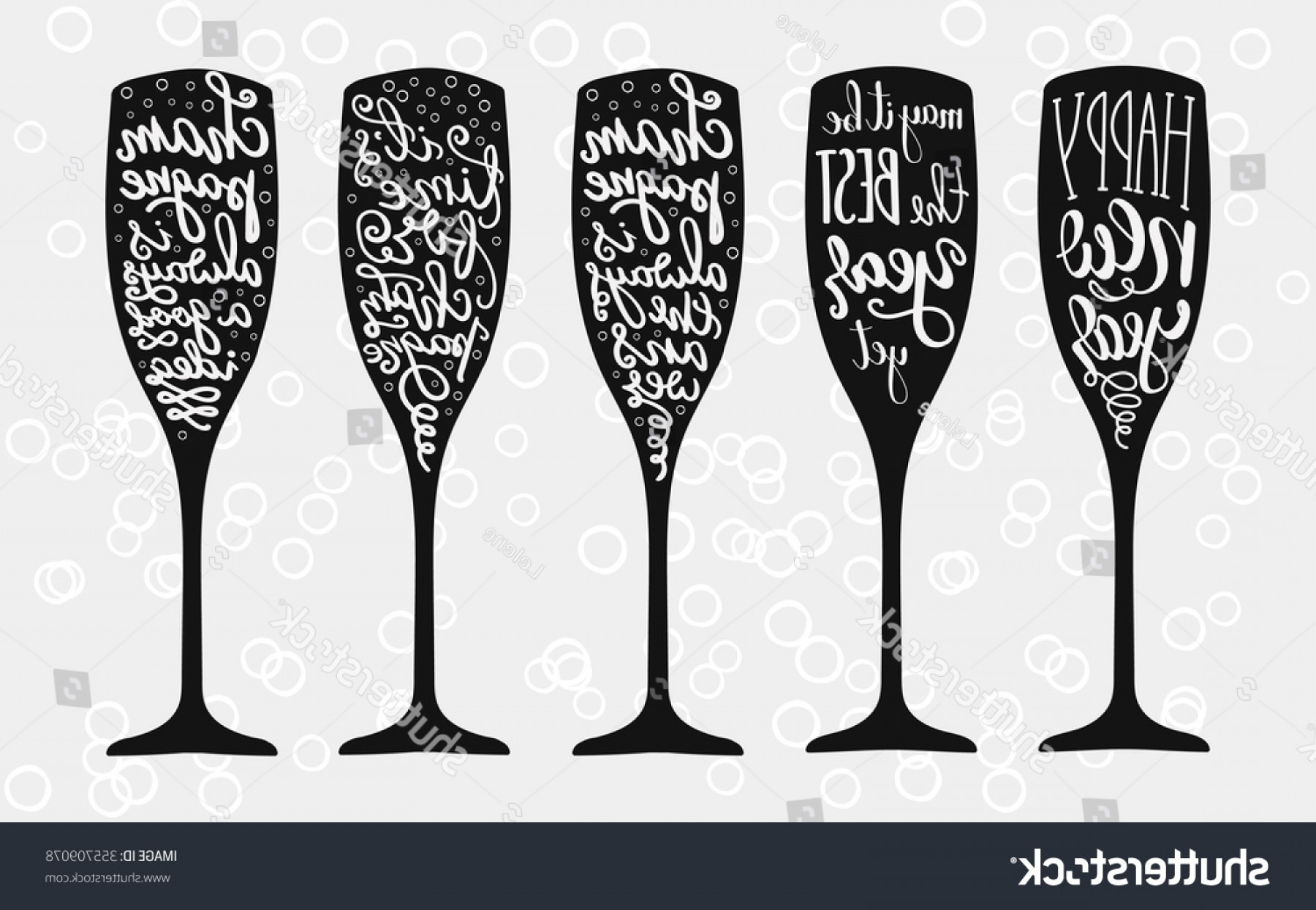Vector Champagne Party: Champagne Christmas Wedding Calligraphy Big Set