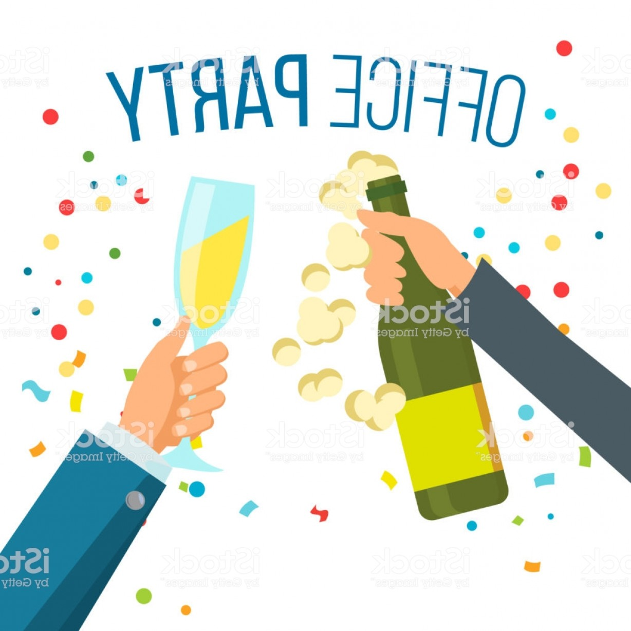 Vector Champagne Party: Champagnes Party Vector Champagne Confetti Explosion Hand With Glasses Isolated Gm