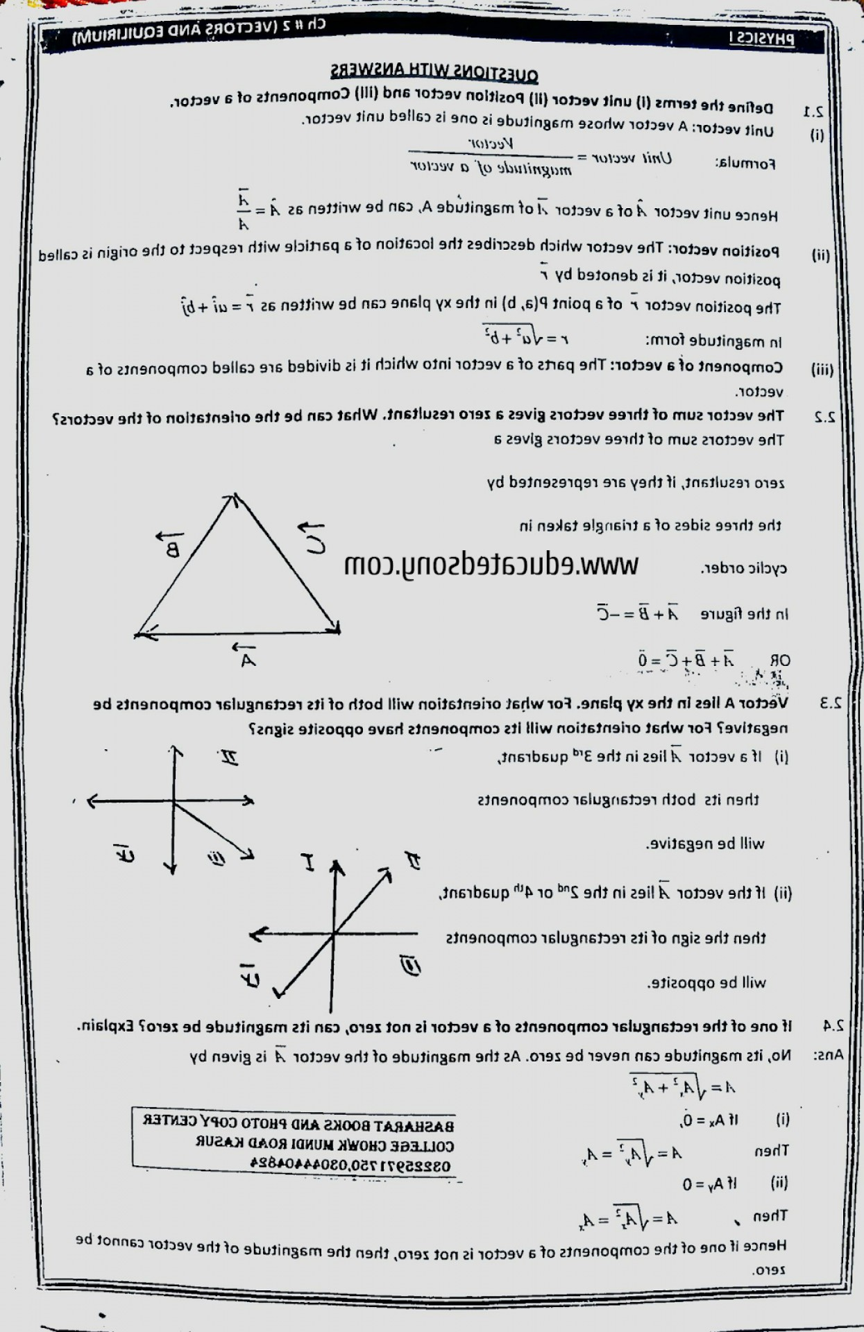 Zero Position Vector: Chapter Short Questions Vector And Equilibrium St Year Physics