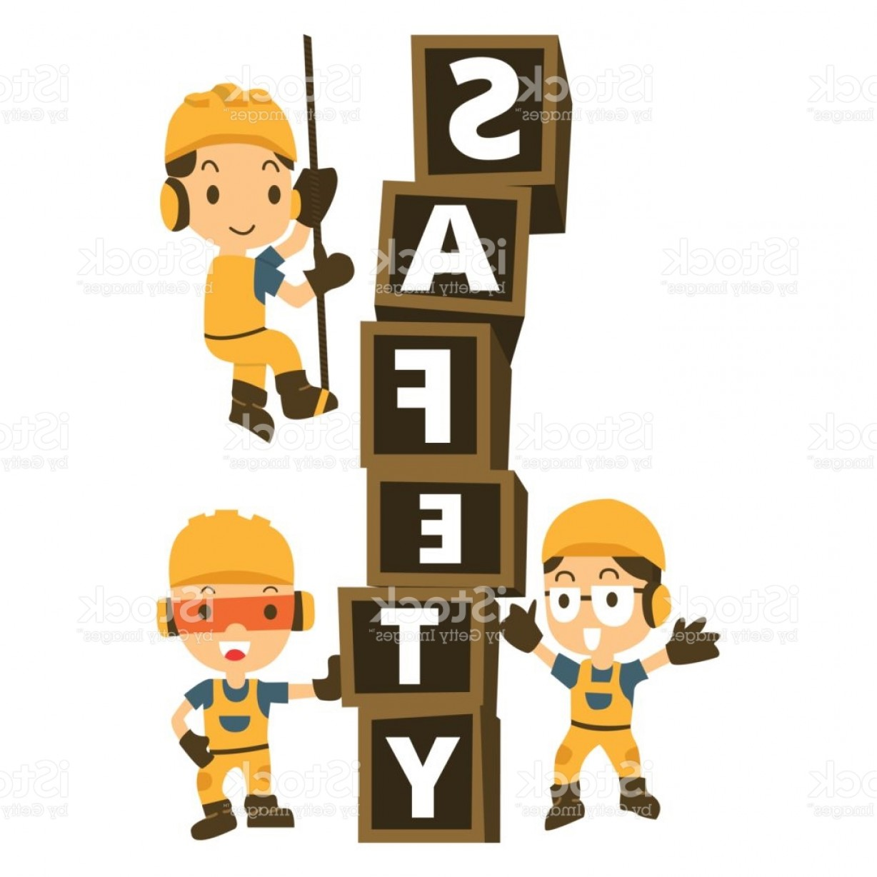Vector Constructor: Character Constructor In A Yellow Construction Helmet And Box Word Safety Vector Gm
