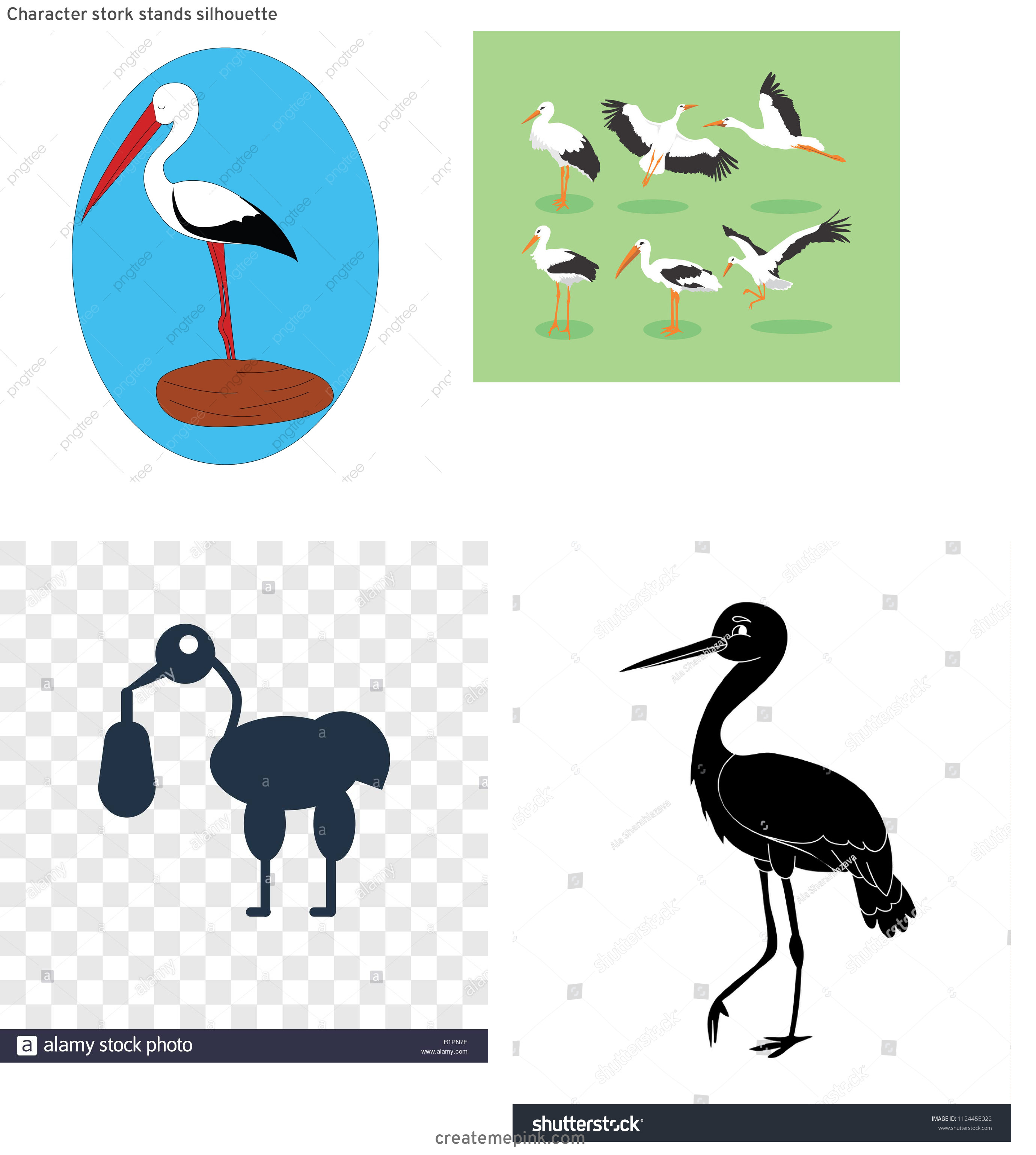 Cartoon Stork Vector Silhouette: Character Stork Stands Silhouette