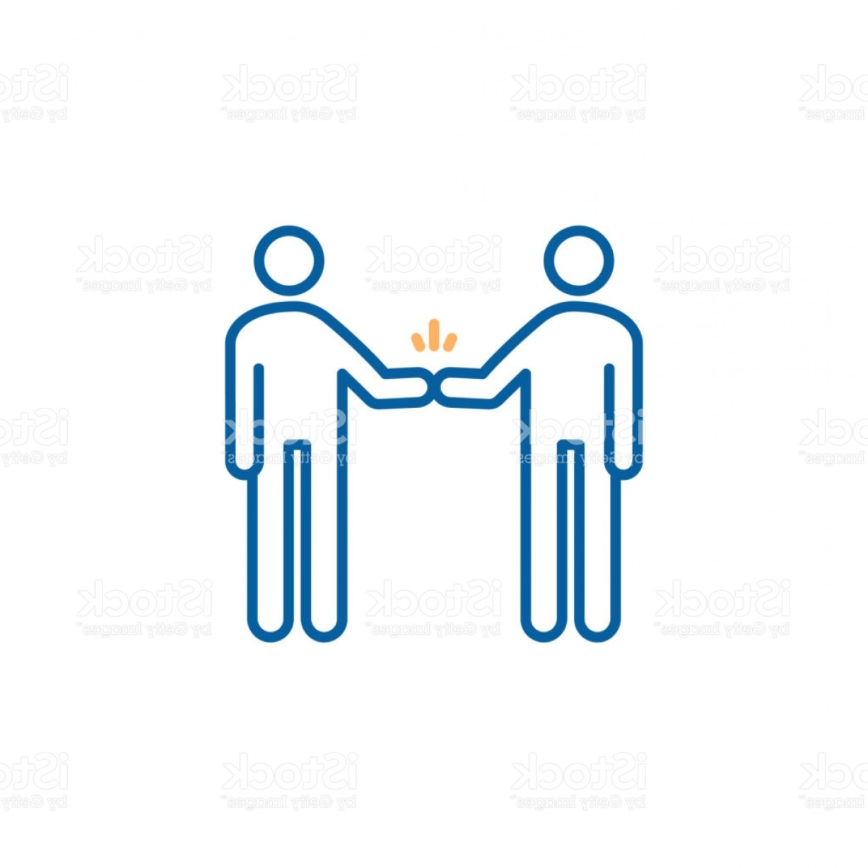 Emoji Fist Bump Vector Graphic: Characters Shaking Hand Fist Bump Vector Trendy Thin Line Icon Illustration Design Gm