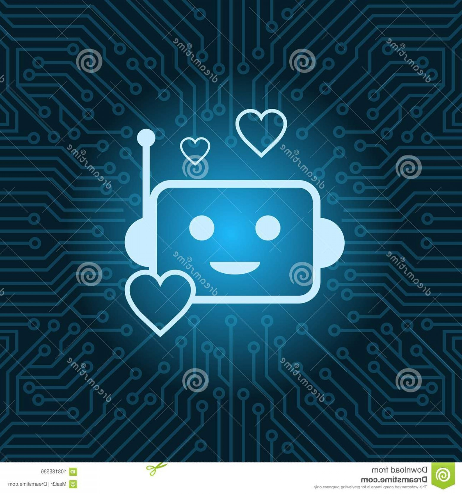 Motherboard Vector With A Heart: Chat Bot Face Icon Heart Shape Robot Over Blue Circuit Motherboard Background Chat Bot Face Icon Heart Shape Robot Over Blue Image