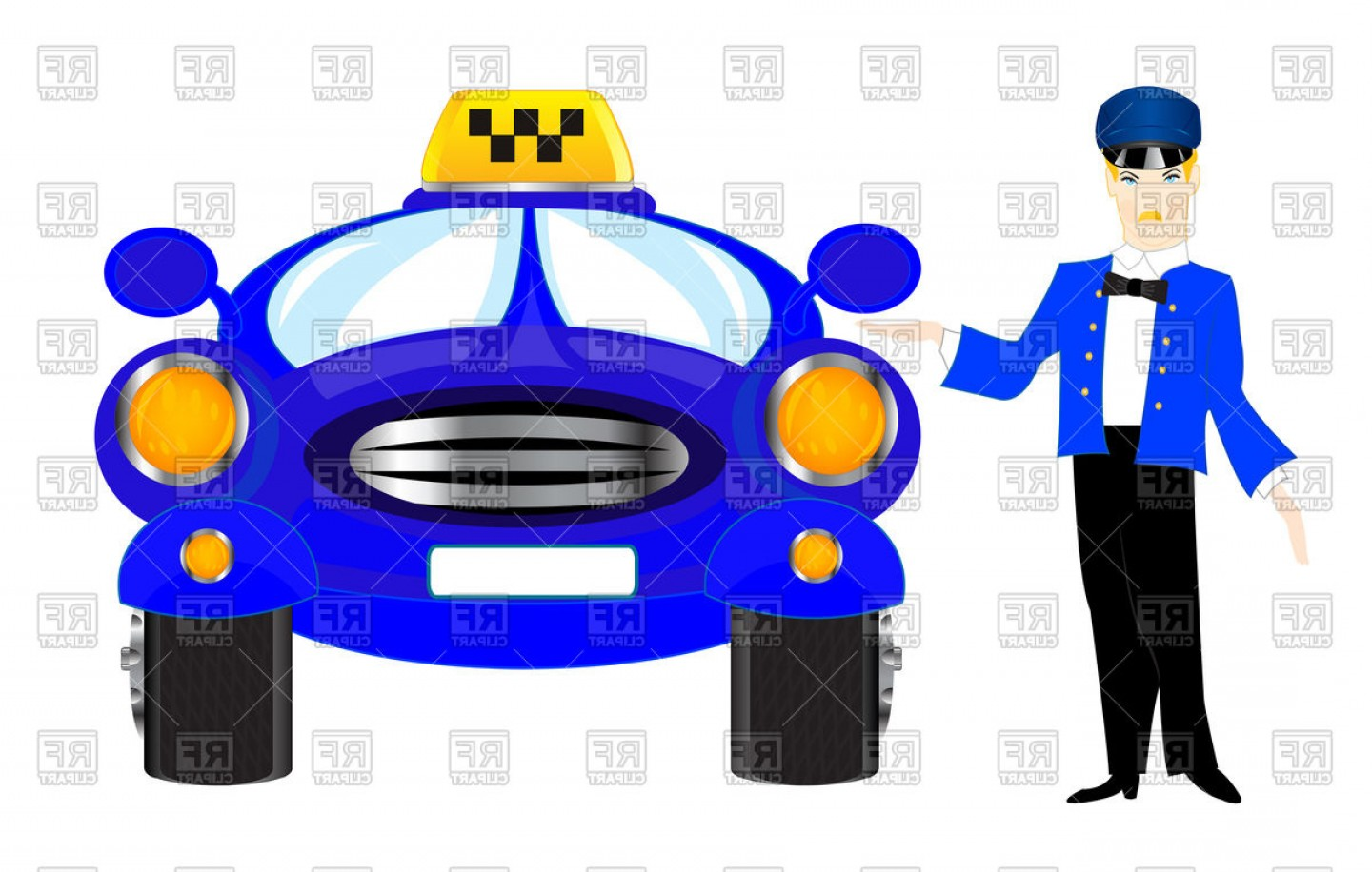 Chauffer Driver Cap Vector: Chauffeur Of Taxi Vector Clipart