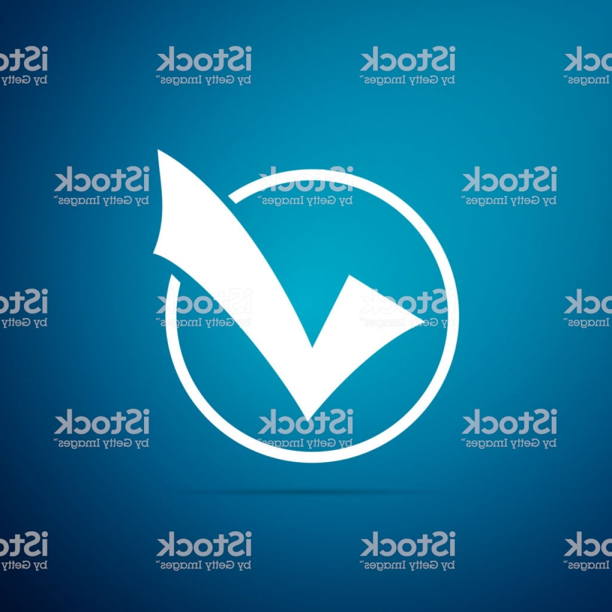 Vector Round Name List: Check Mark In Round Icon Isolated On Blue Background Check List Button Sign Flat Gm