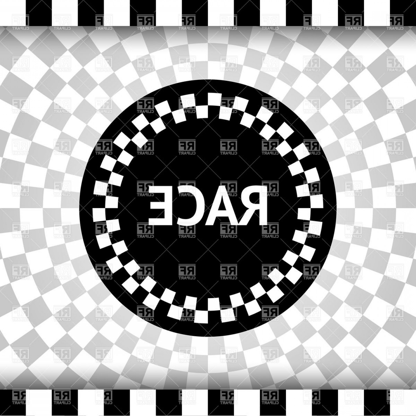 Checkered Flag Background Vector: Checkered Flag Background With Round Label Vector Clipart