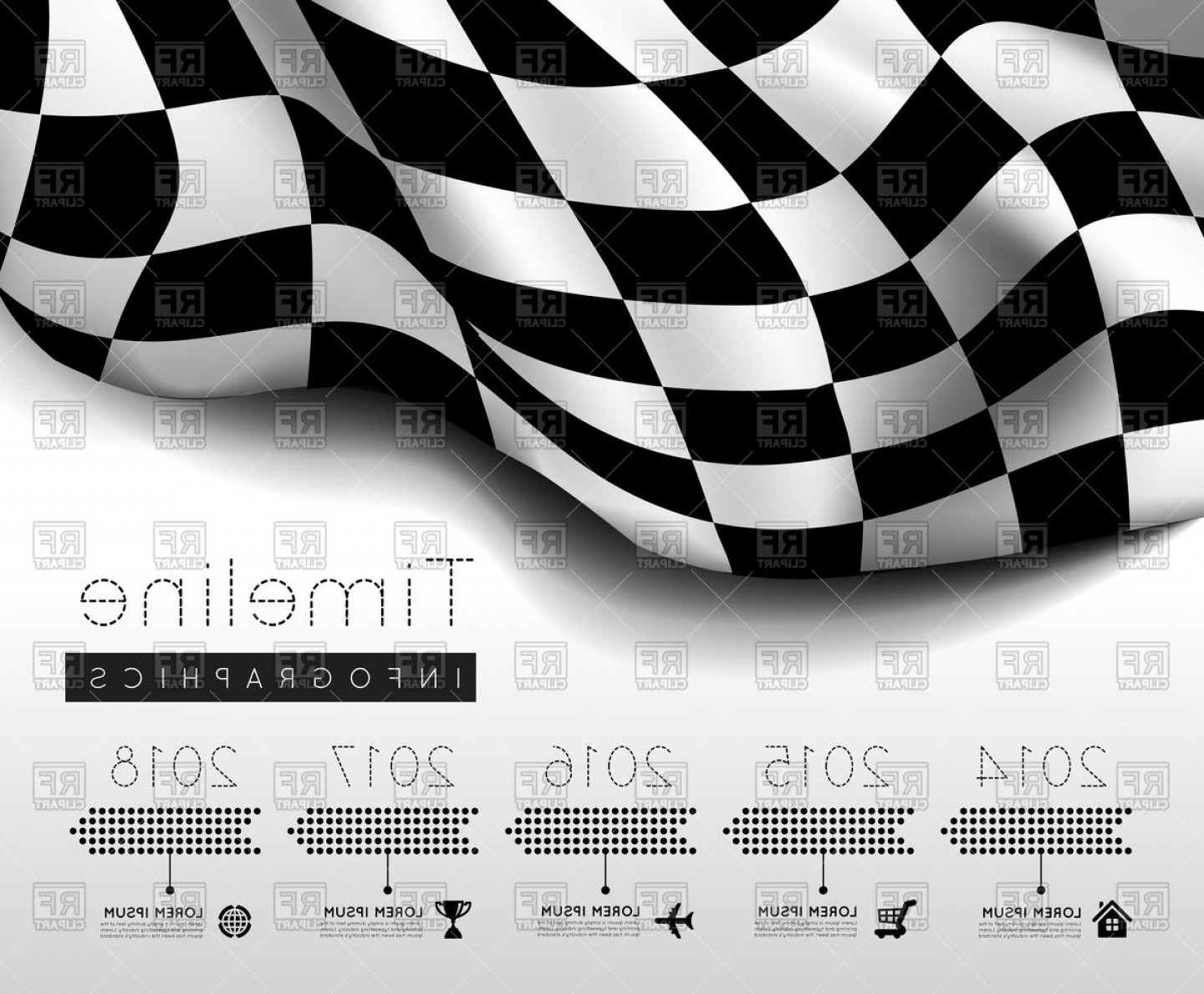 Checker Vector Template: Checkered Flag With Timeline Infographic Vector Clipart
