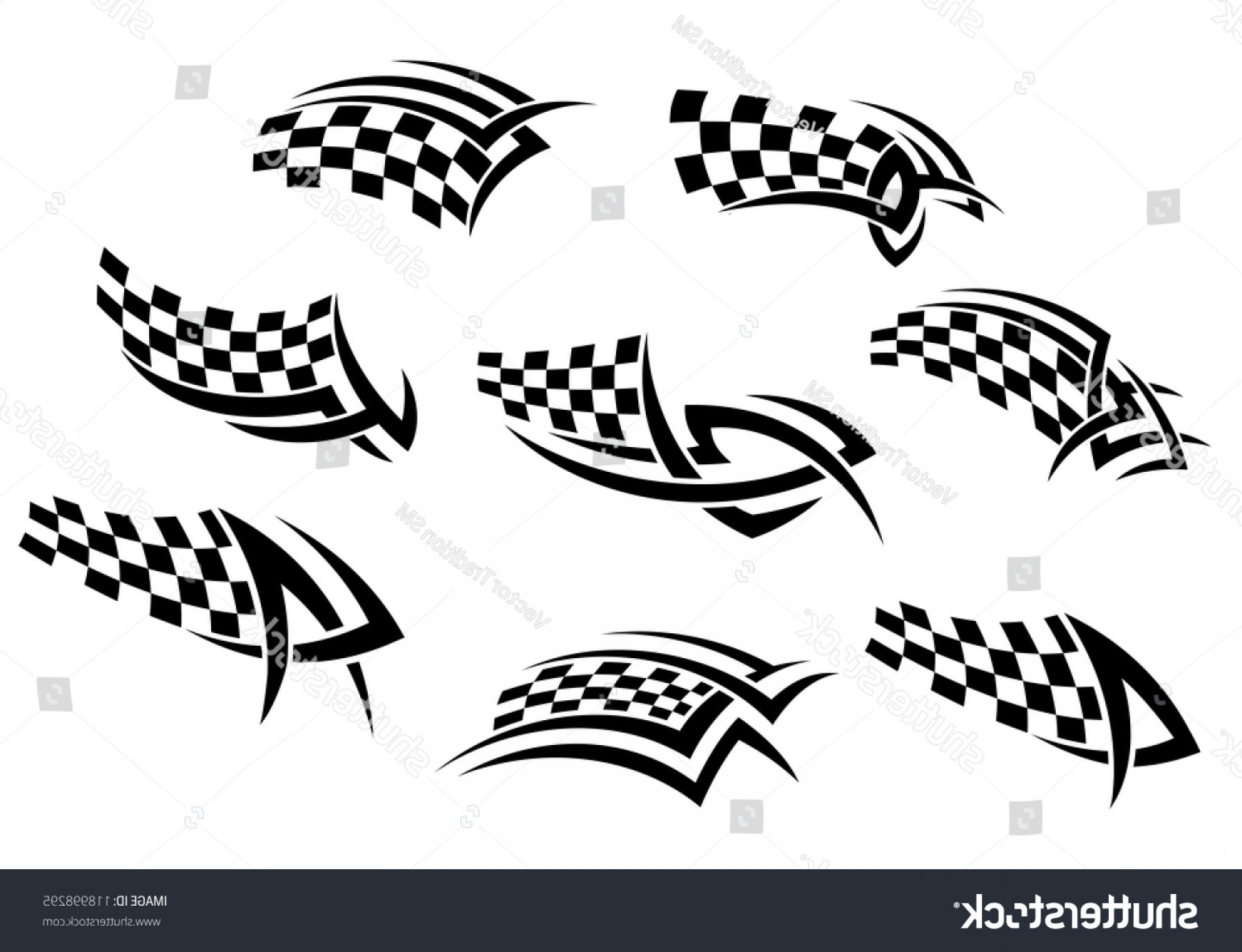 Checker Vector Template: Checkered Flags Tribal Style Tattoo Sports