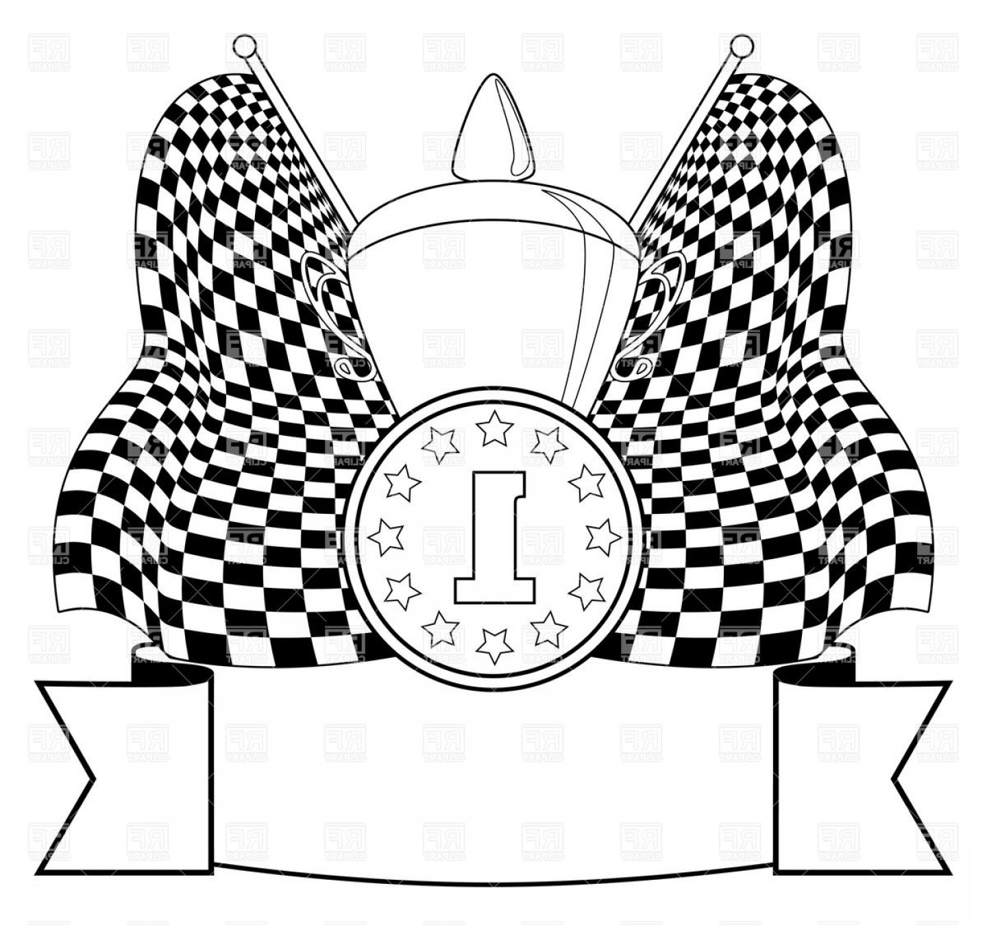 Position Vector Of A Circle Formula: Checkered Race Flag With Cup And Medal St Position Award Balck And White Contour Vector Clipart