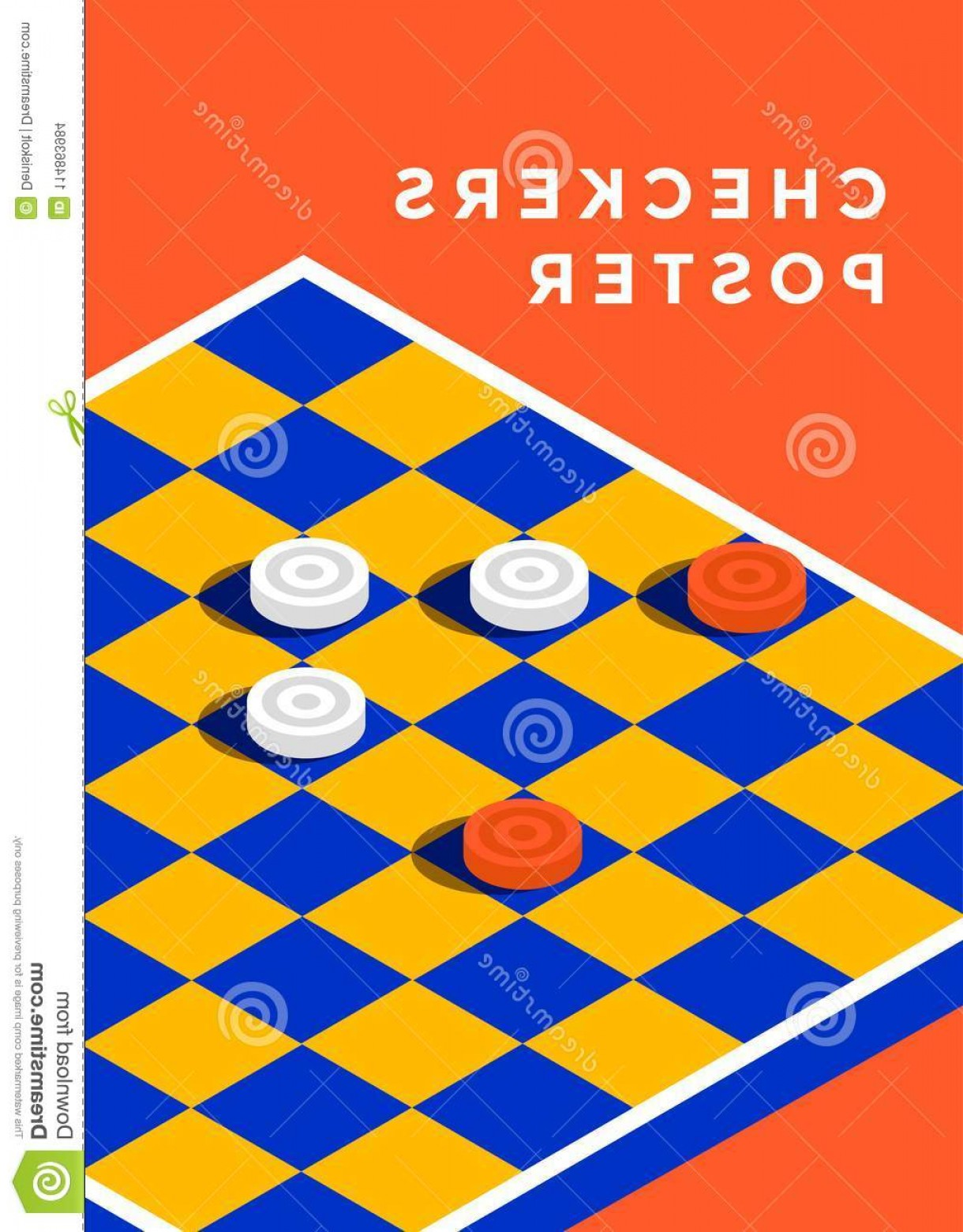 Checker Vector Template: Checkers Game Poster Design Minimal Sport Cover Template Vector Isometric Illustration Image
