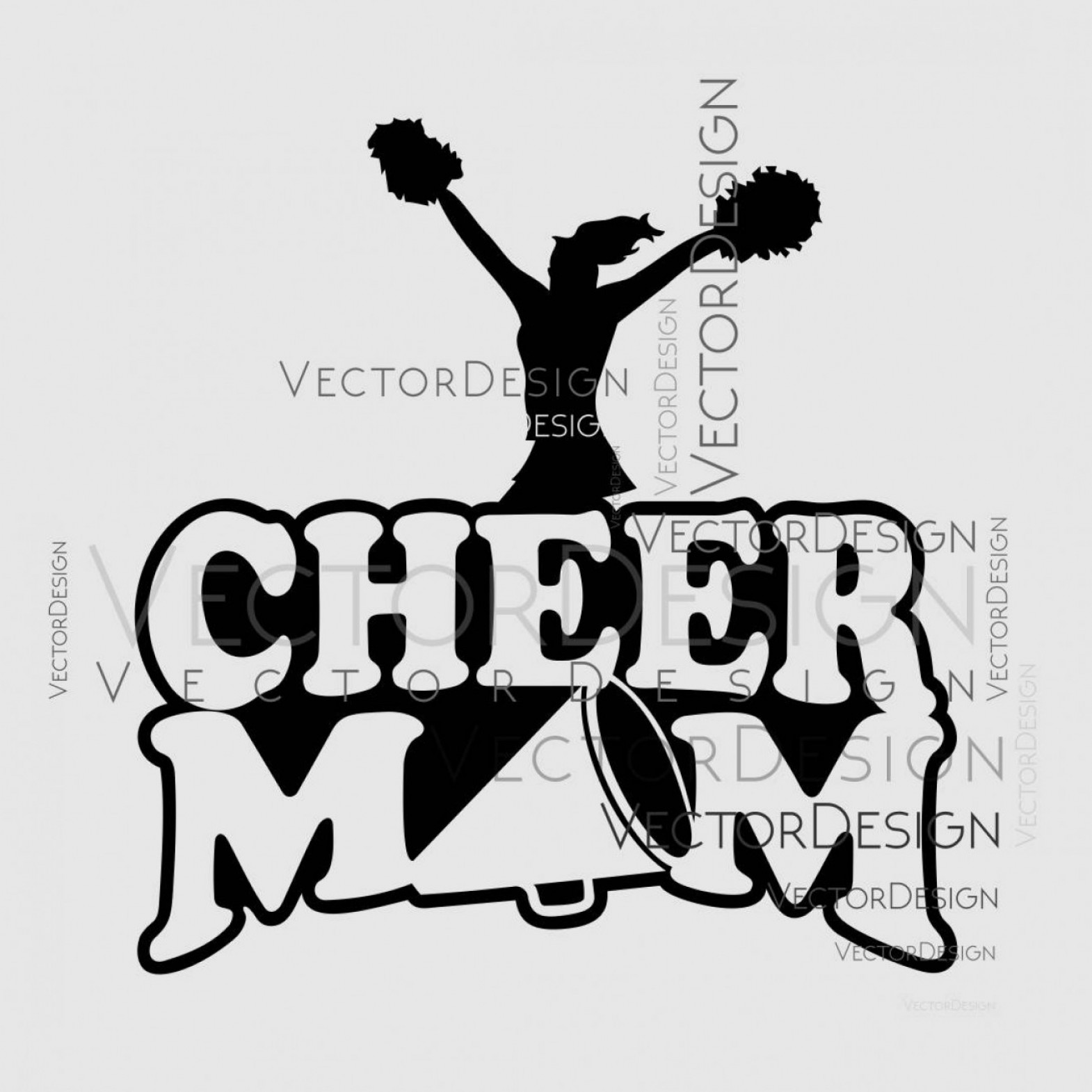 Cheerleading Vector Art EPS: Cheer Mom Svg Graphics Dxf Eps Png Cdr