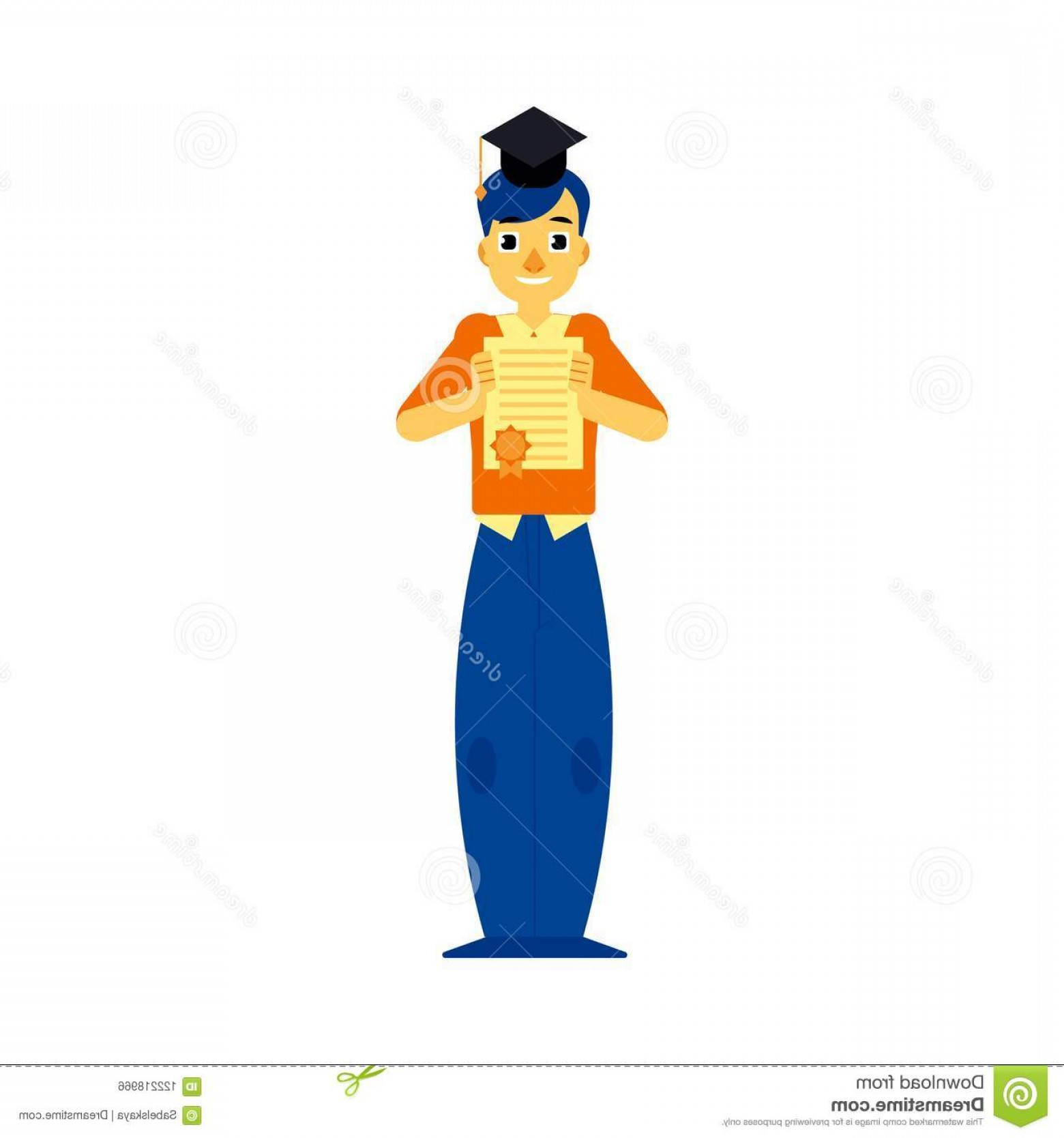 Standing Diploma Vector: Cheerful Student Graduate Man Standing University Cap Holding Diploma Graduation Certificate Smiling Male Character Image