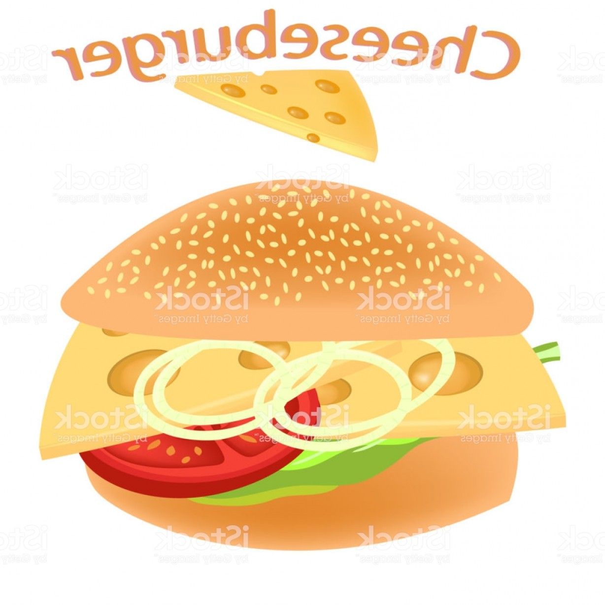 Snack Vector: Cheeseburger Sandwich With Cheese Fast Food Snack Vector Gm