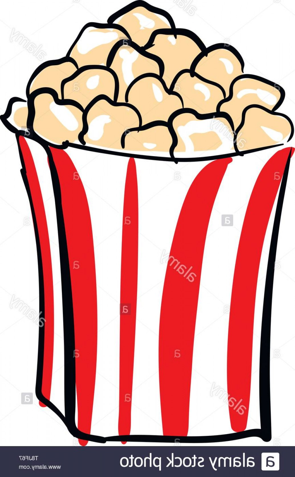 Snack Vector: Cheesy Popcorn In Red And White Container Kids Favorite Snack Vector Color Drawing Or Illustration Image