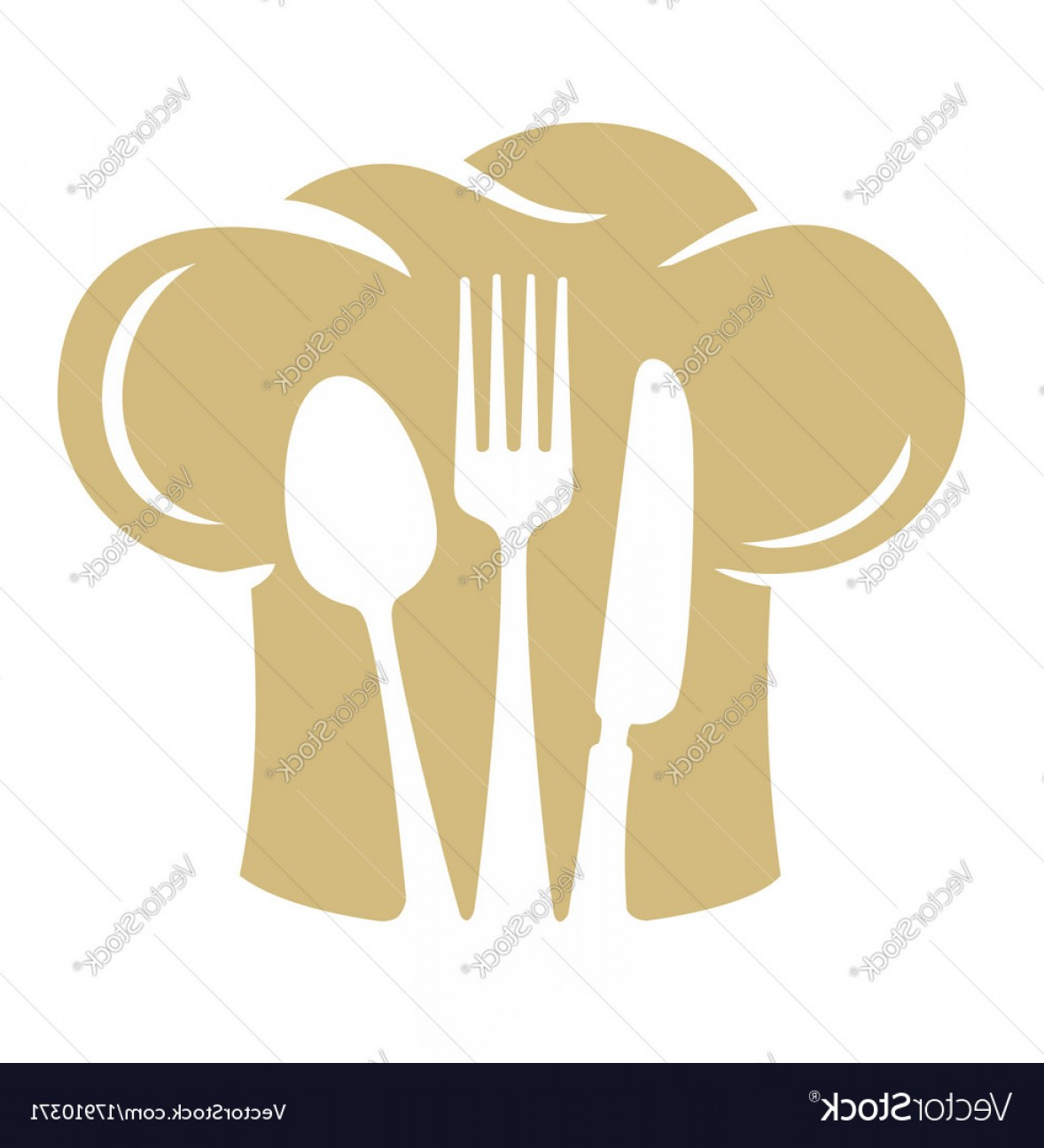 Vector Chef Utensils: Chef Hat Silhouette With Fork Knife Spoon Vector