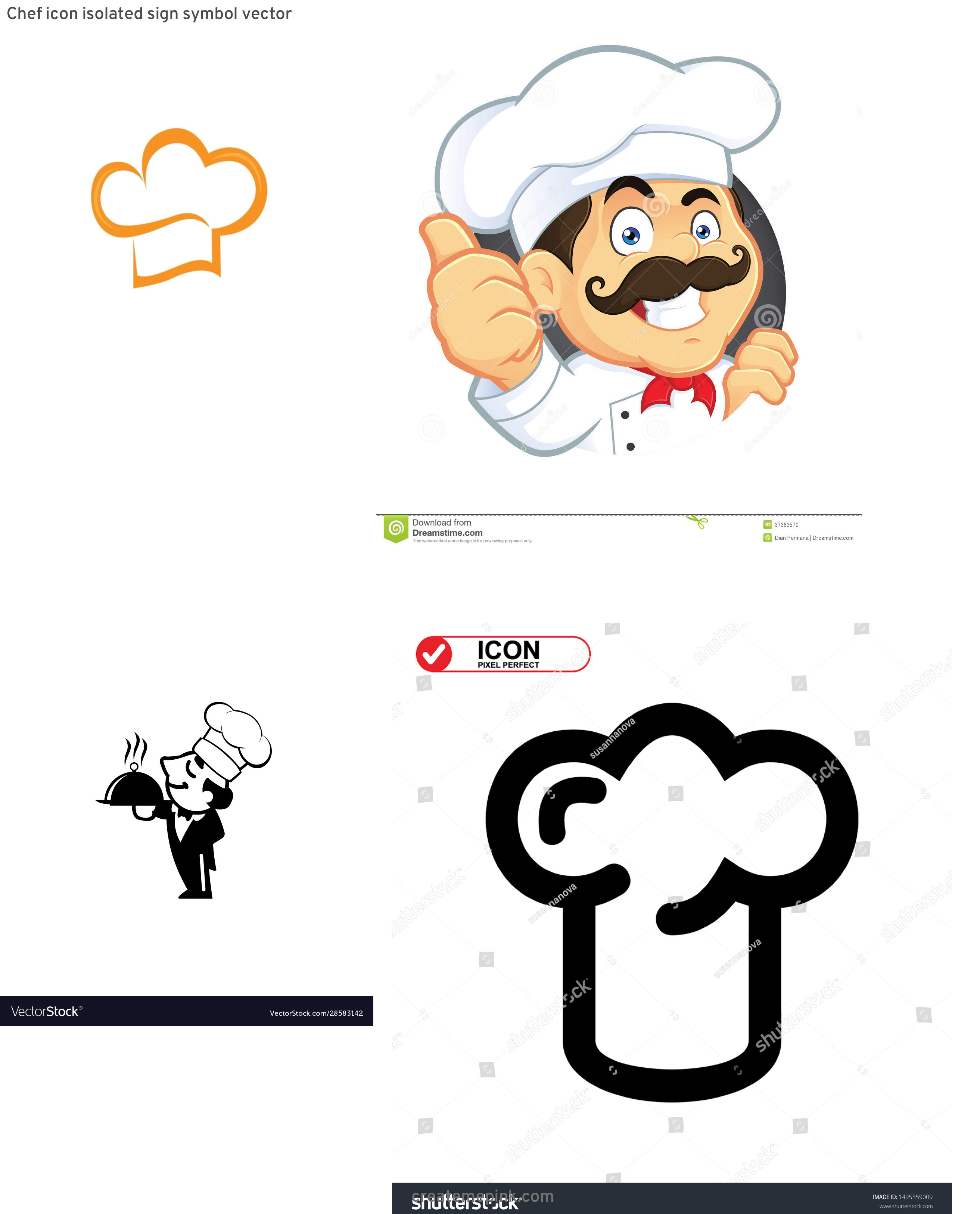 Chef Icon Vector: Chef Icon Isolated Sign Symbol Vector