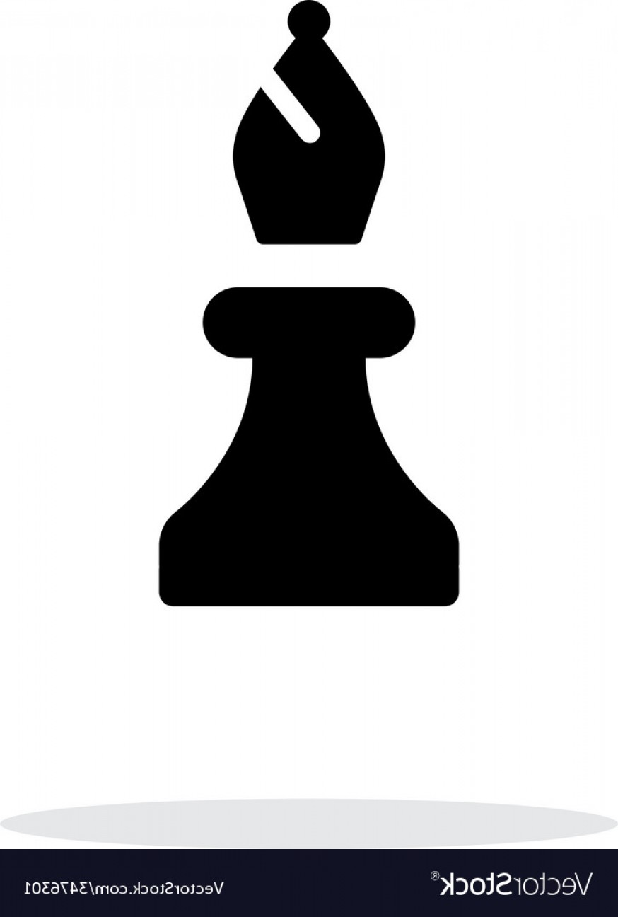 Chess Vector Background: Chess Bishop Simple Icon On White Background Vector