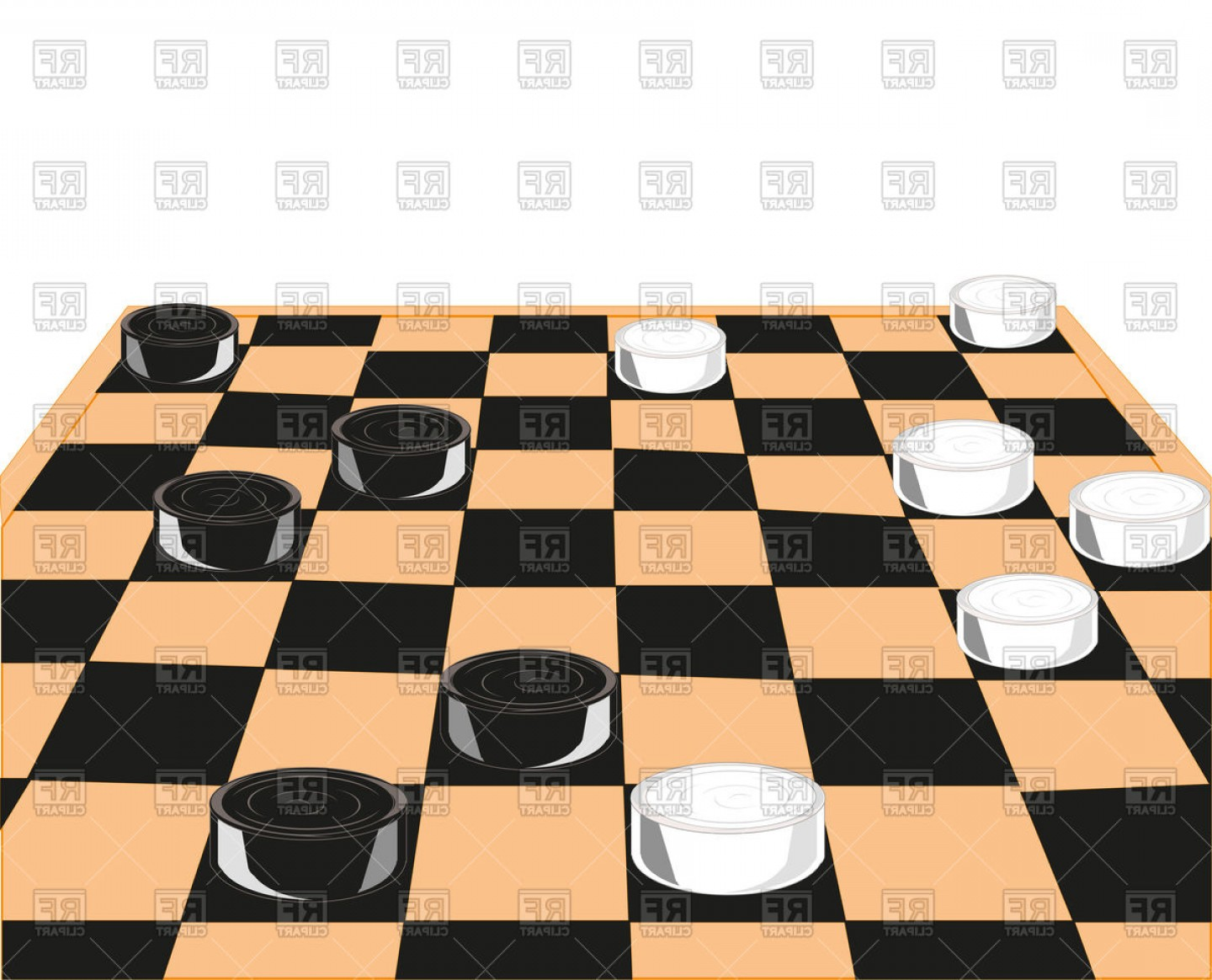 Chess Vector Background: Chess Board And Checkers On White Background Vector Clipart