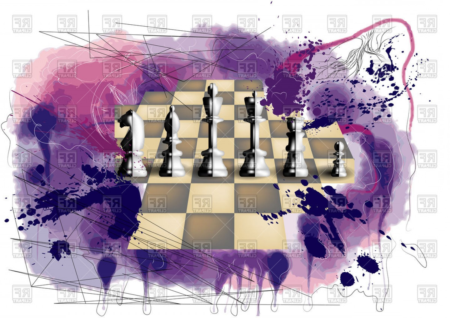 Chess Vector Background: Chess On Abstract Multicolor Background Vector Clipart