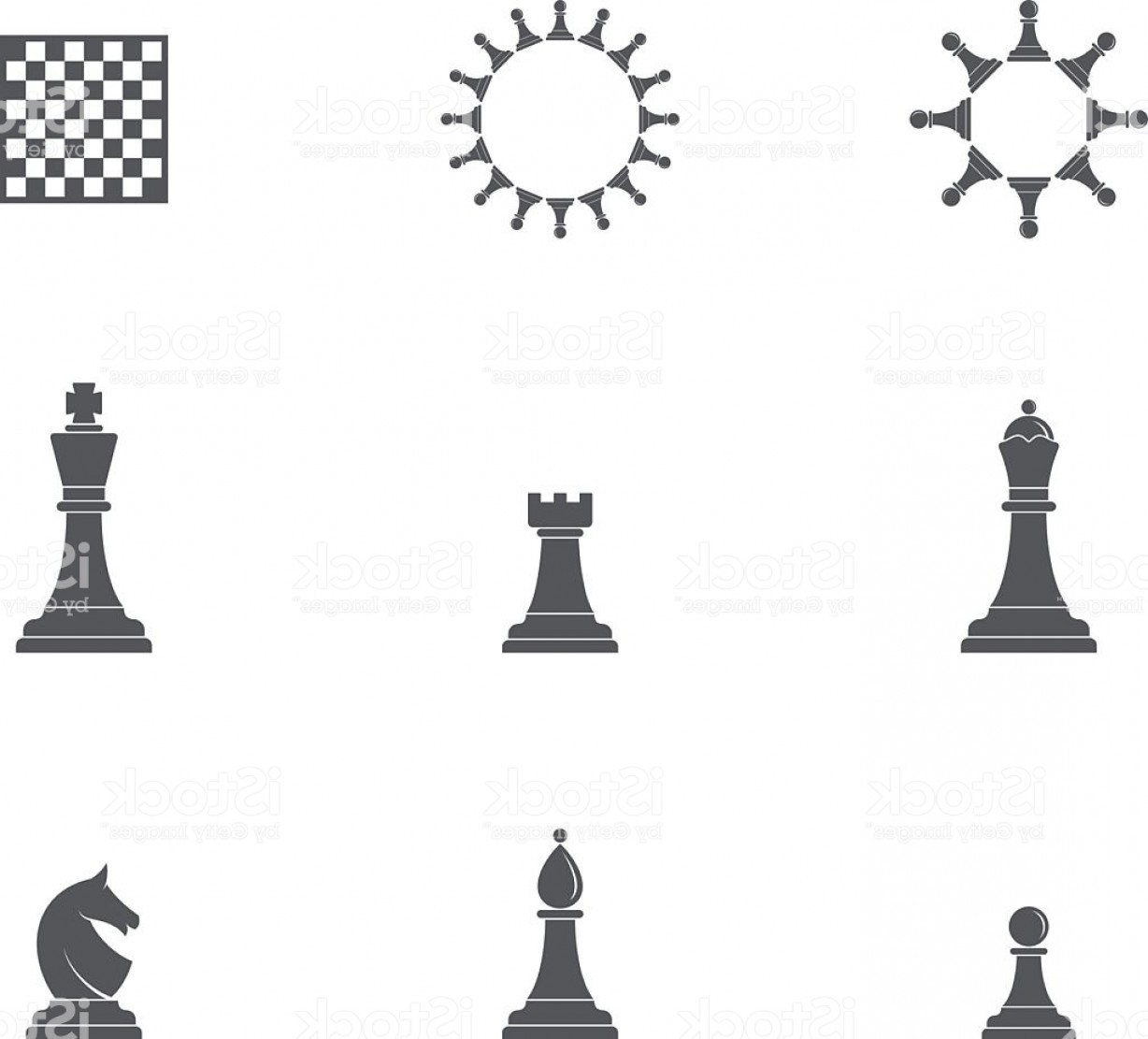 Vector Chess Board: Chess Pieces Icon Set Gm