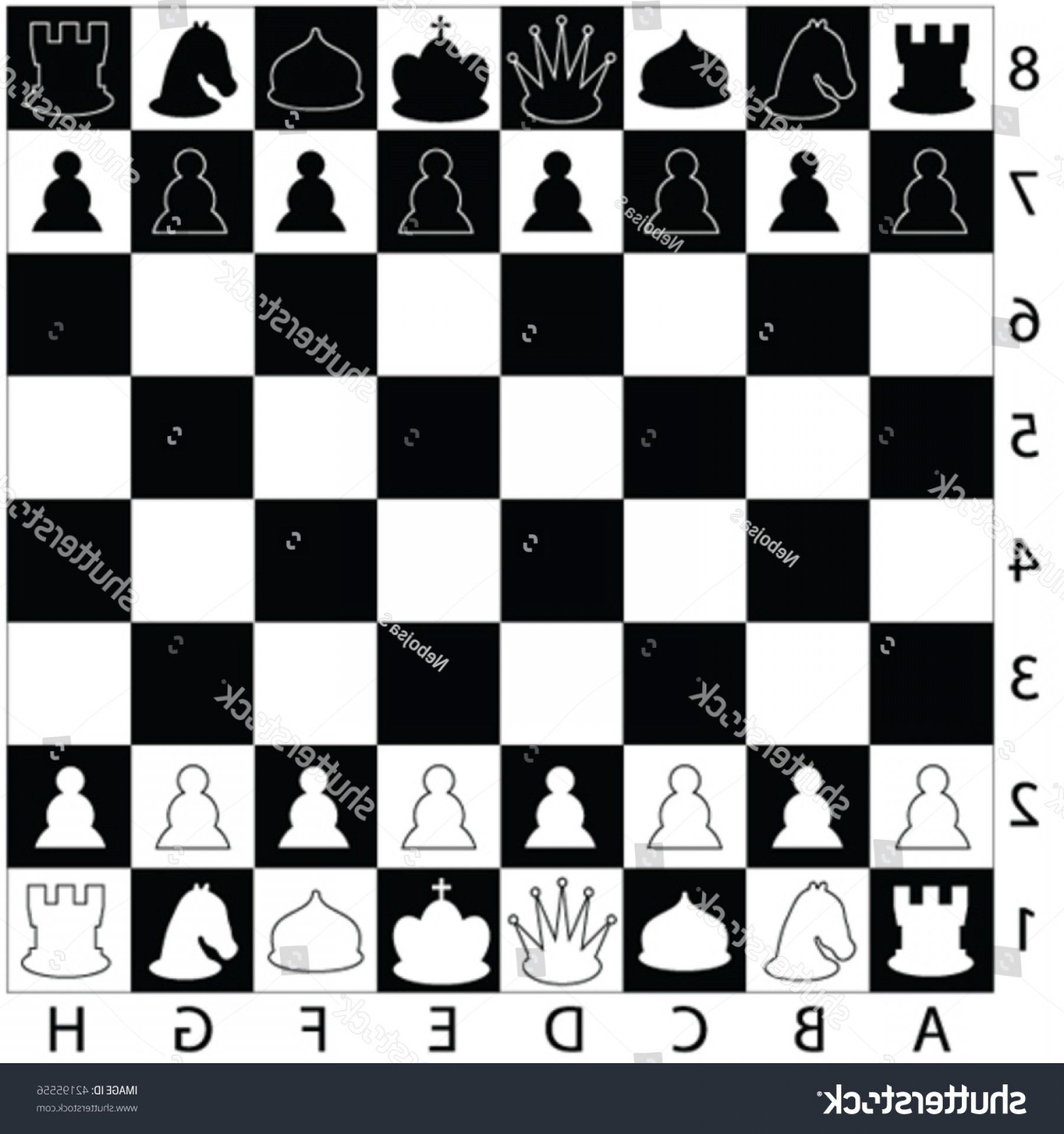 Vector Chess Board: Chess Pieces On Board Vector