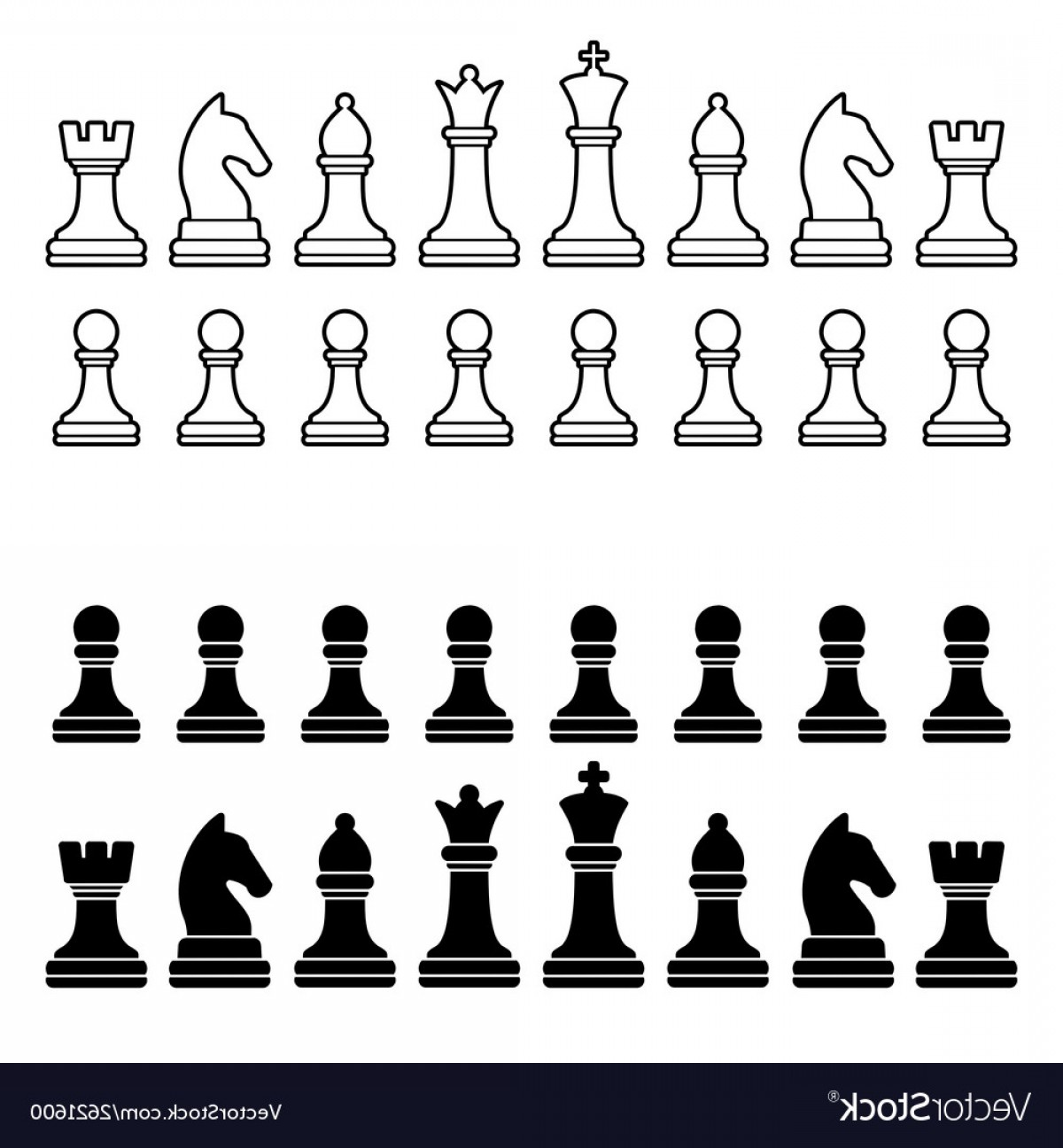 Vector Chess Board: Chess Pieces Silhouette Black And White Set Vector