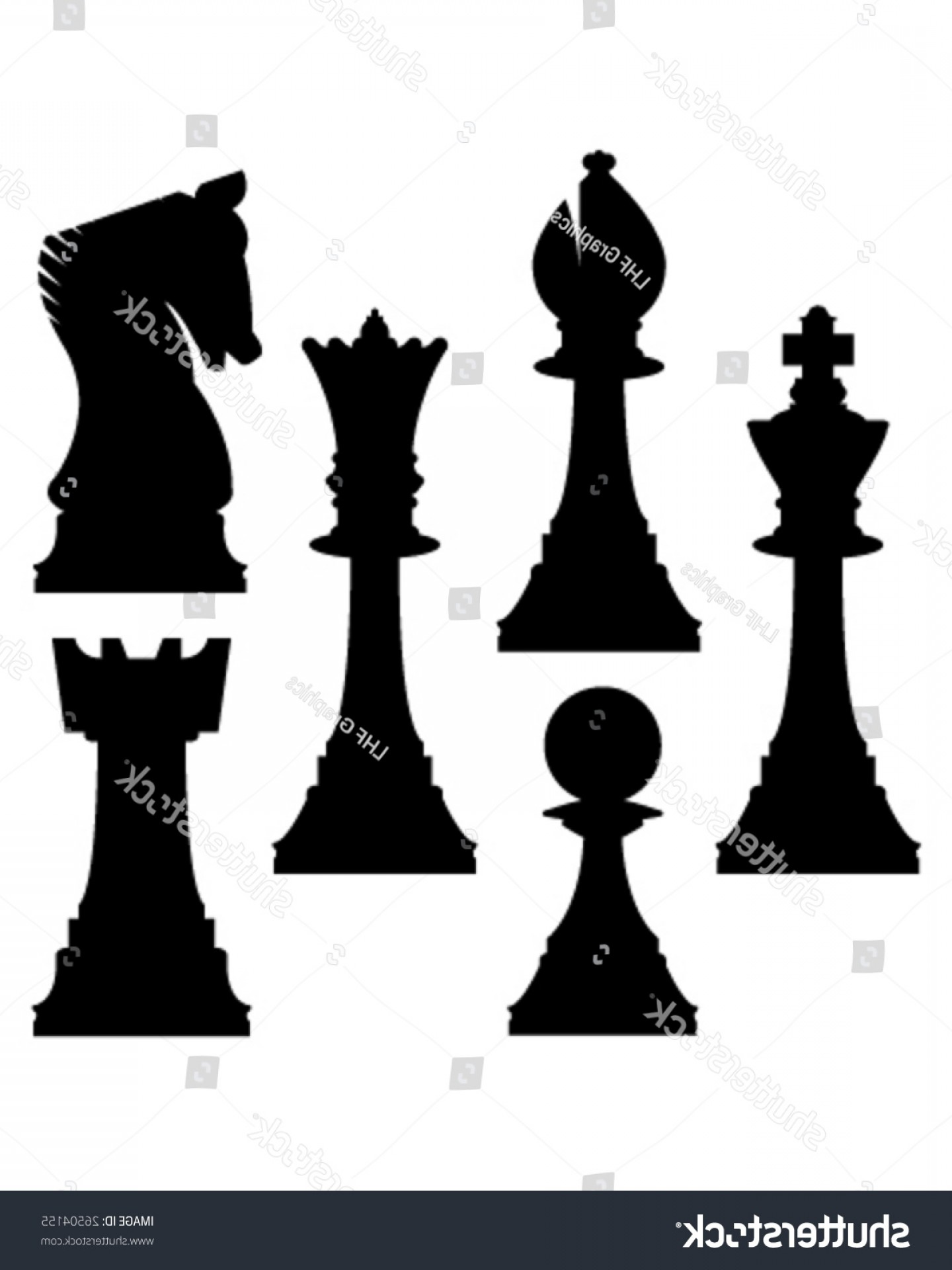 Vector Chess Board: Chess Pieces Vector Silhouette Including King