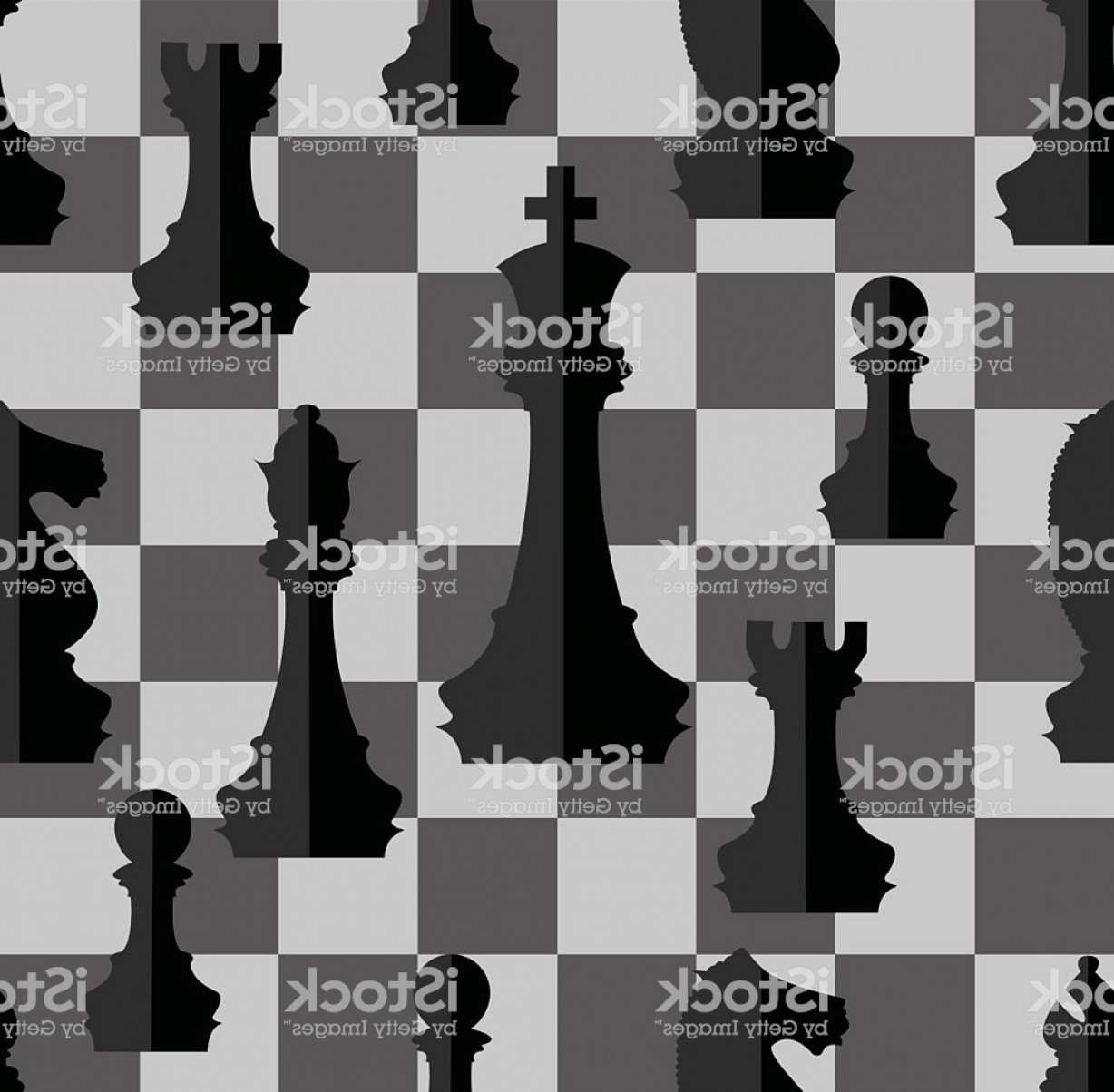 Chess Vector Background: Chess Pieces With Chess Board Seamless Background Gm