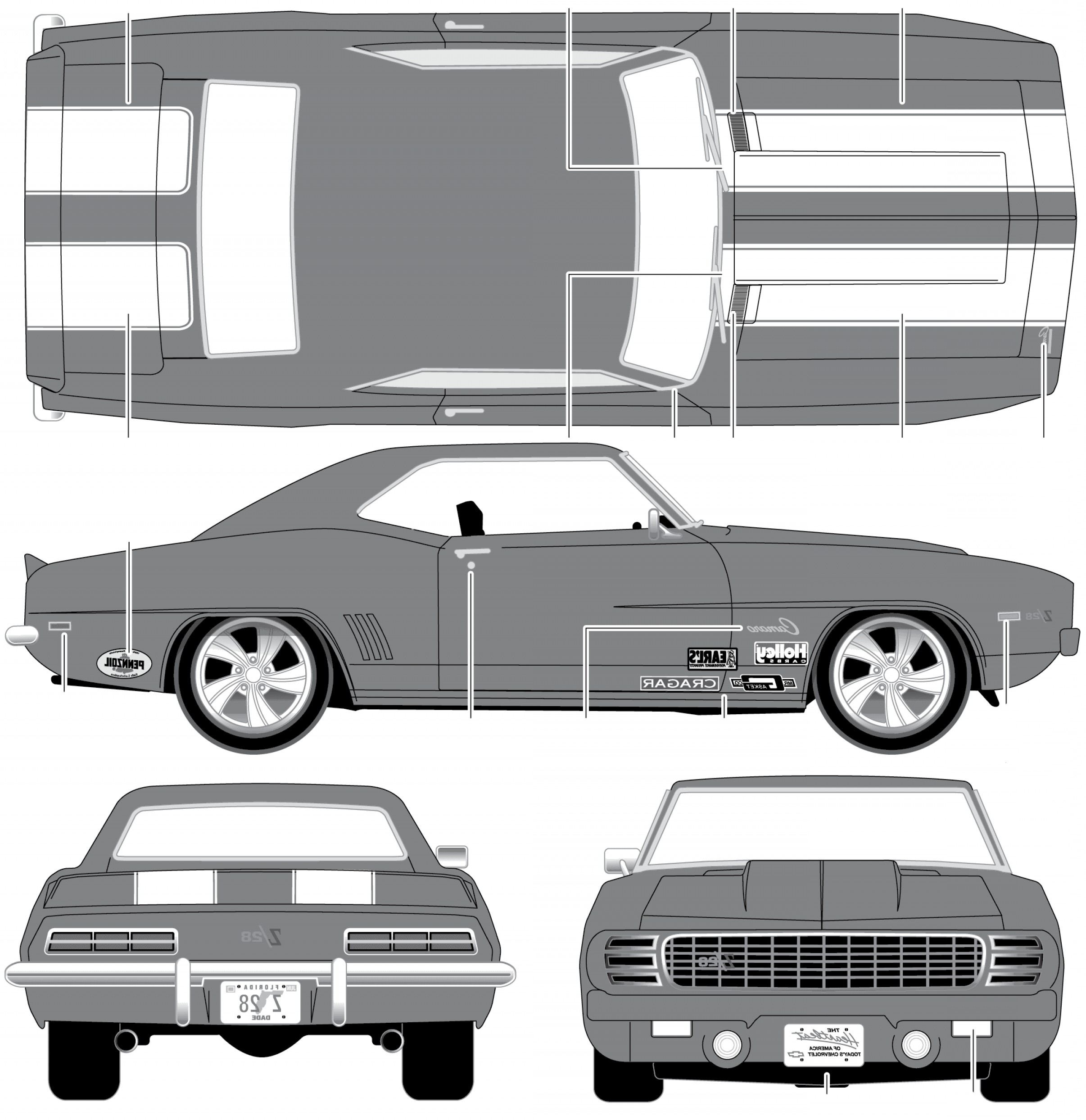 1969 Camaro Vector: Chevrolet Camaro Z Coupe Blueprints