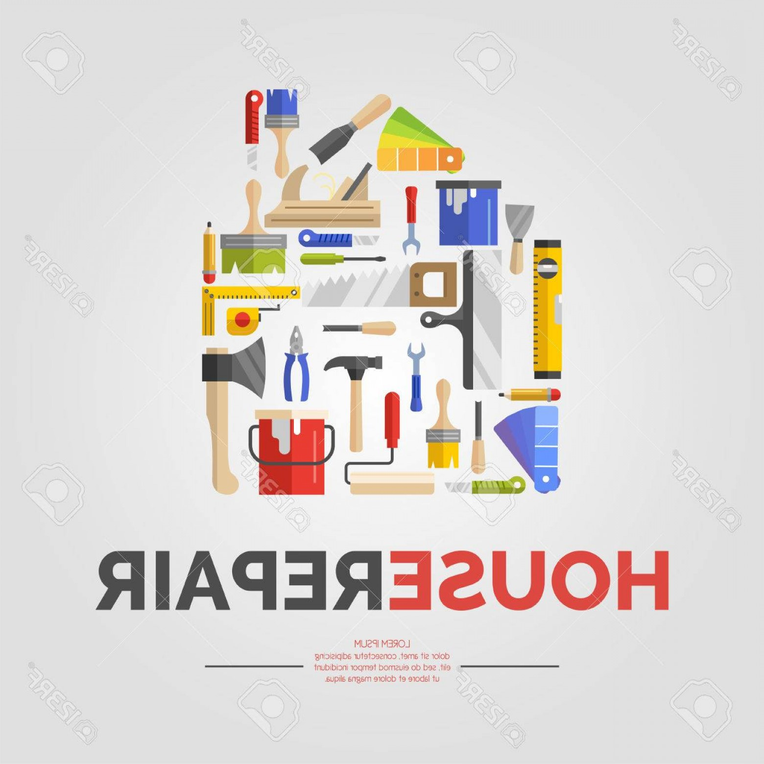 Tools For Text Vector: Chic Photostock Vector White Poster With Home Of Tools For House Repair Vector Illustration With Text In A Flat Colourful D