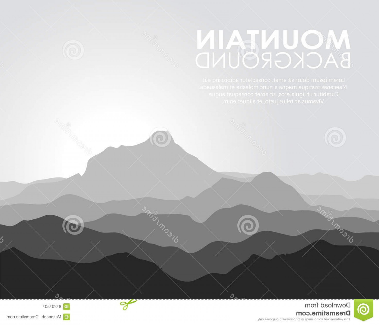 Mountain Range Silhouette Vector Free: Chic Stock Illustration Huge Mountain Range Silhouette Black White Vector Illustration Copy Space Image