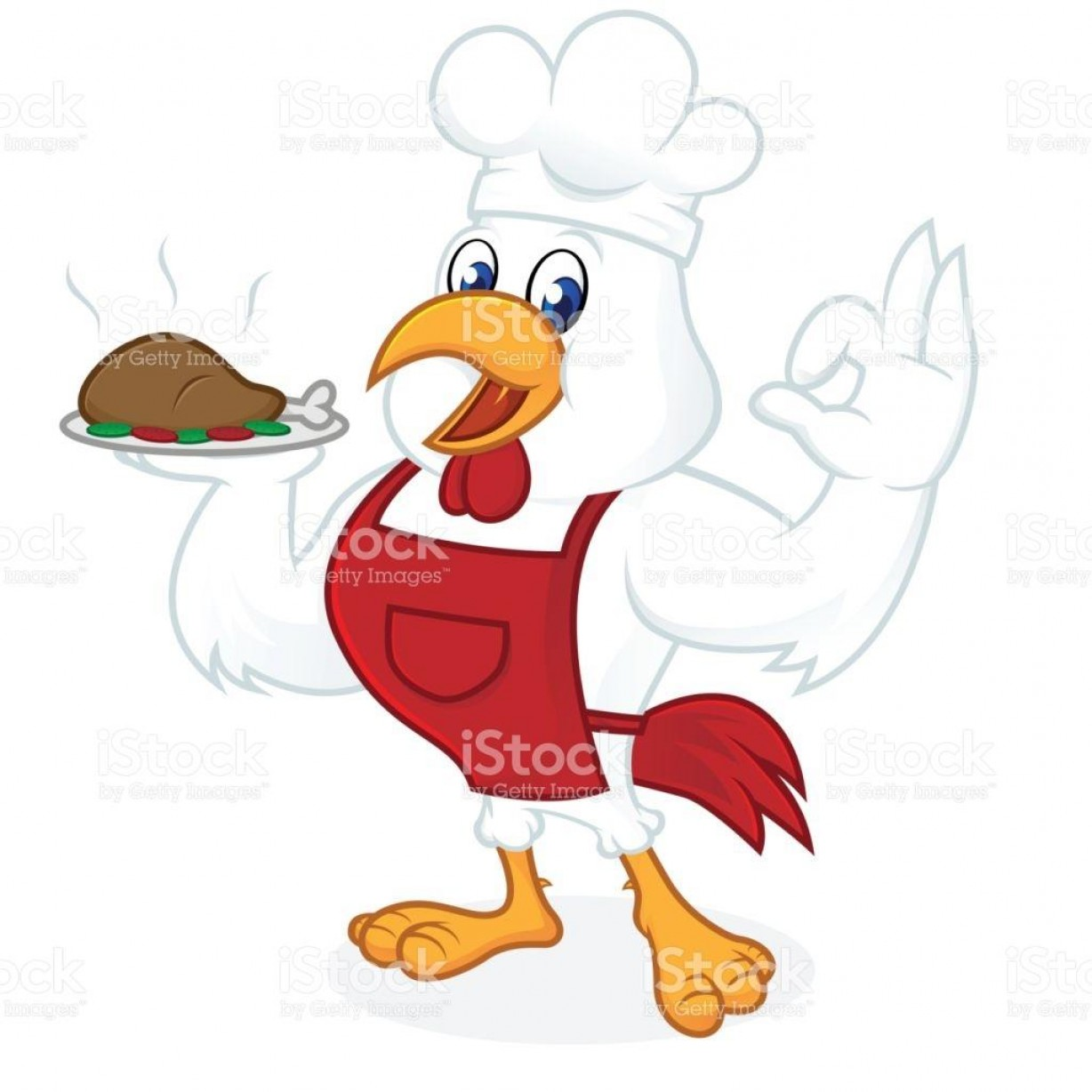 Apron Vector: Chicken Cartoon Wearing Chef Hat And Apron Vector