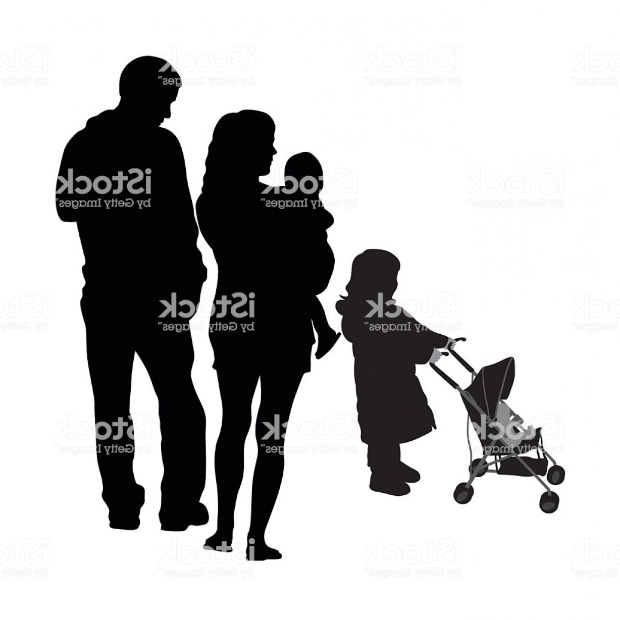 Family Silhouette Vector Art: Child And Stroller Family Silhouette Vector Gm