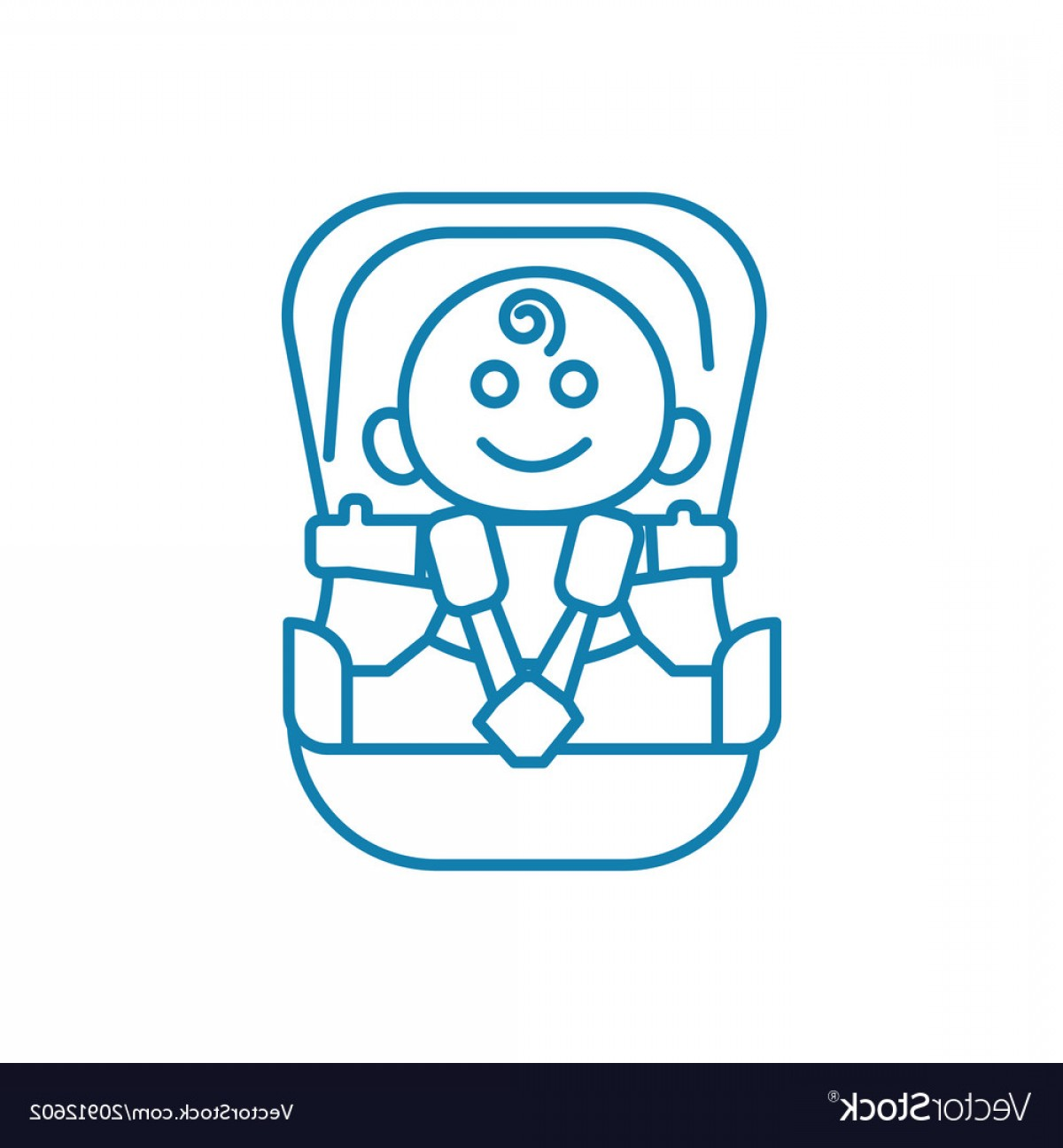 Vector Baby Seat: Child Car Seat Linear Icon Concept Child Car Seat Vector