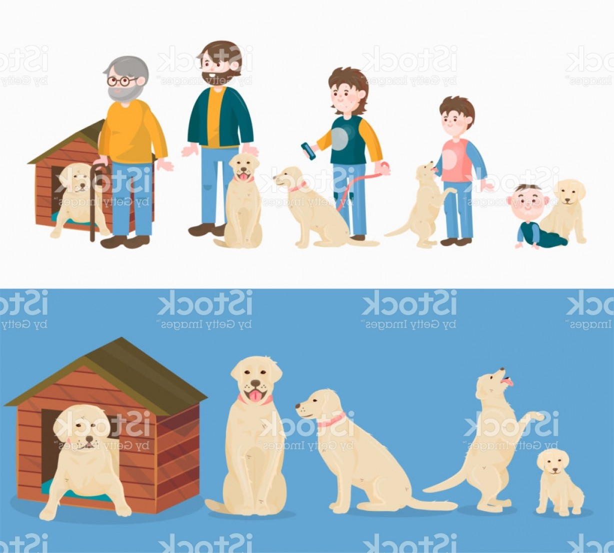 Growth Vector People: Child Growth Vector Dog Growing And Aging Concept From Baby Or Puppy To Aged Man Or Gm
