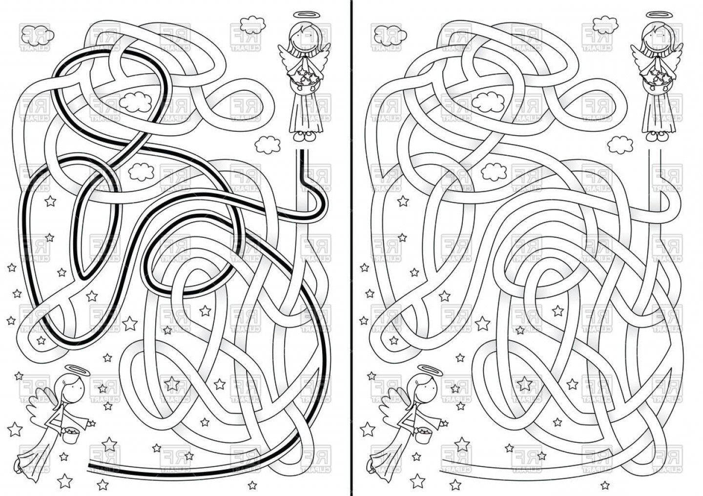 Little Angel Vector: Childish Maze With Solution And Little Angel In Black And White Vector Clipart