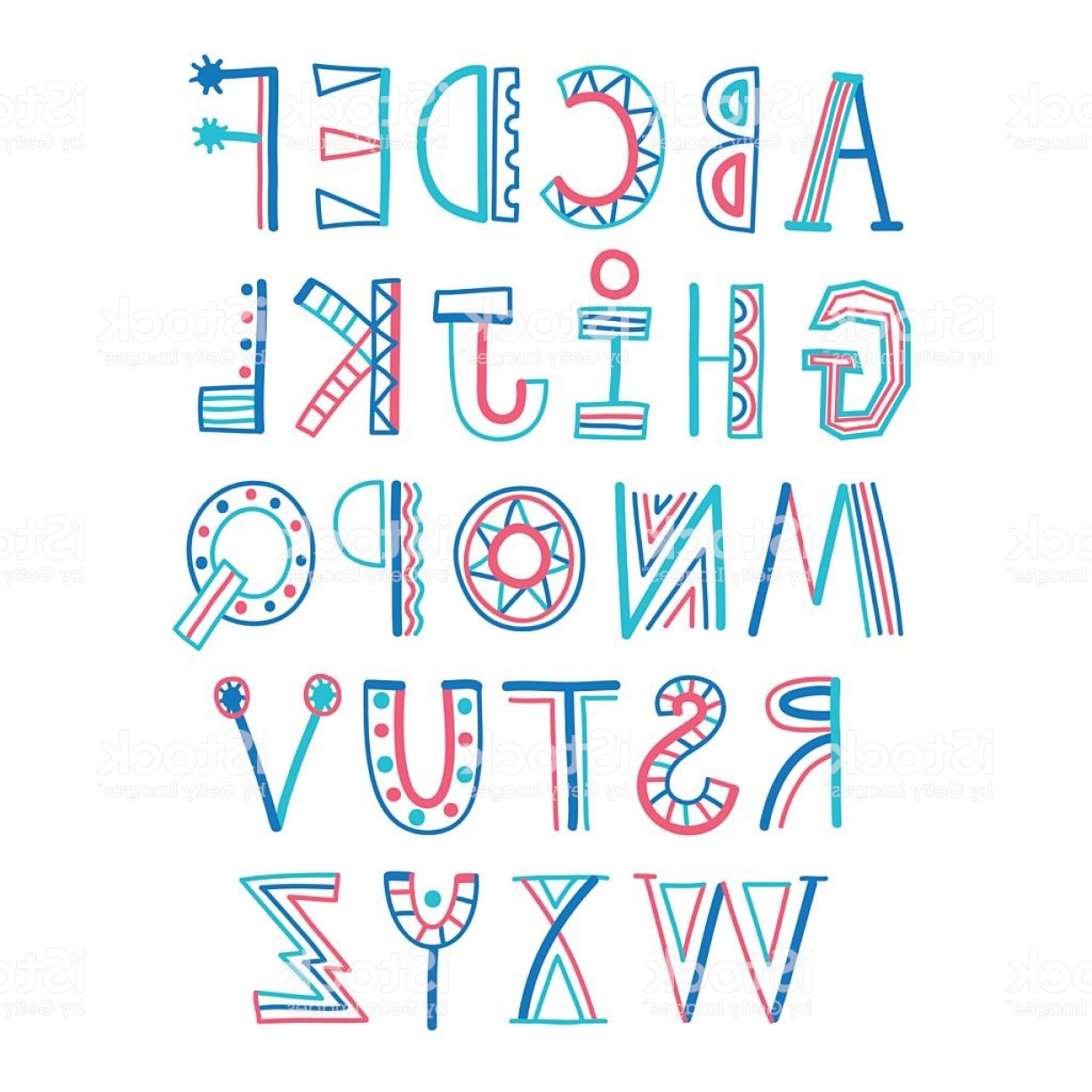 Decorative Font Vector Illustration: Childish Style Colorful Decorative Font Gm
