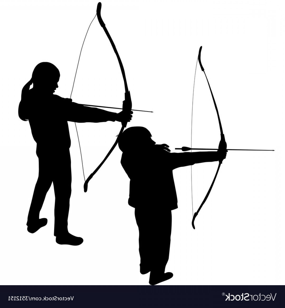 Vector Archery Silhouette: Children Silhouettes Playing Archery Vector