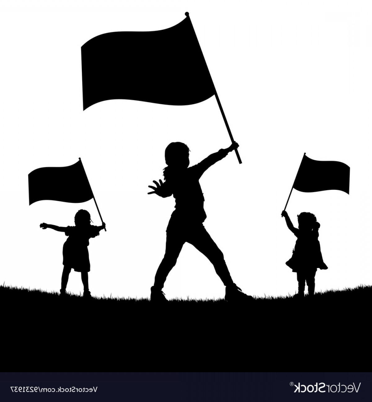 Color Guard Silhouette Vector: Children With Flag Silhouette Vector