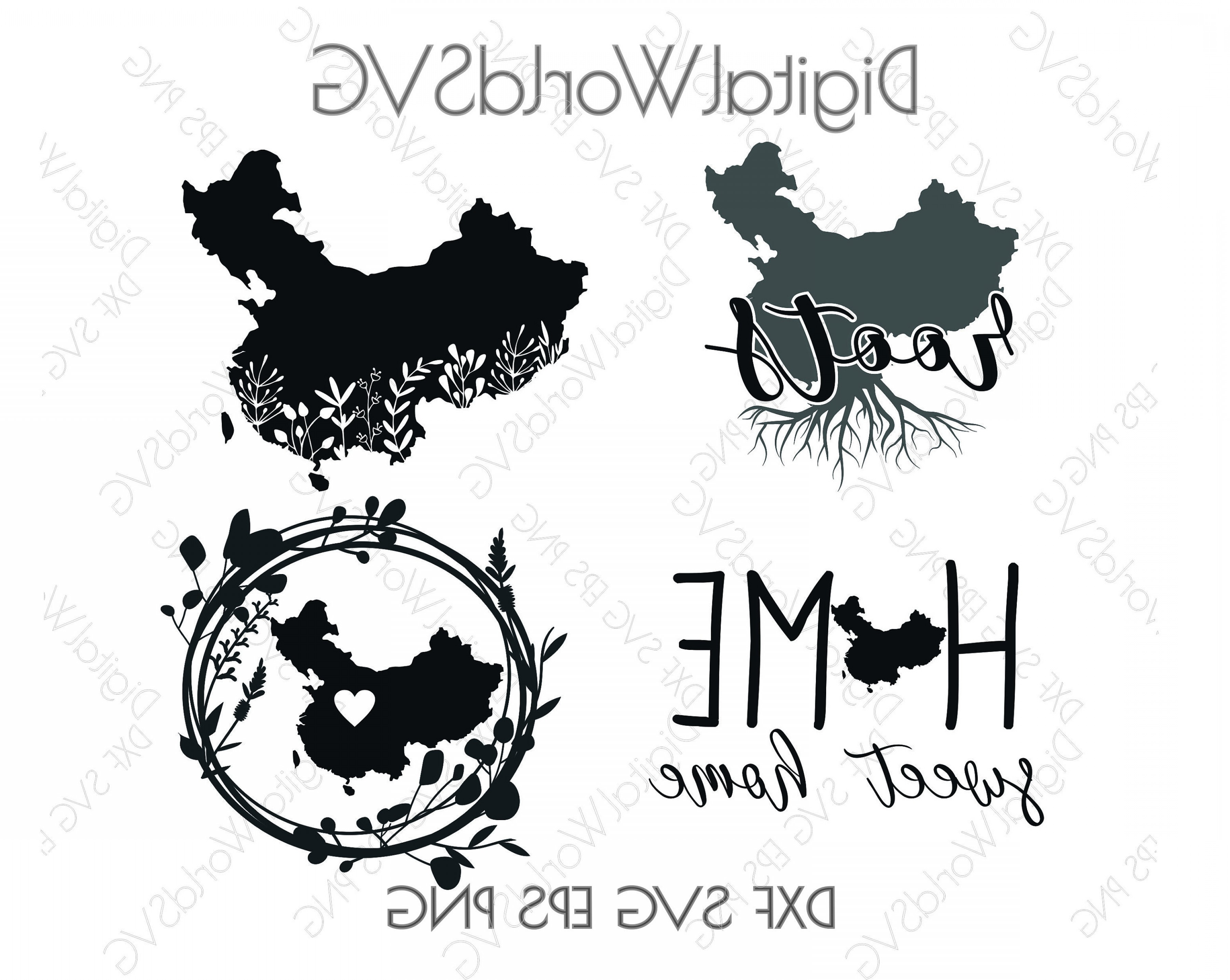 Digital Vector Silhouette: China Digital Vector File Svg Png Dxf