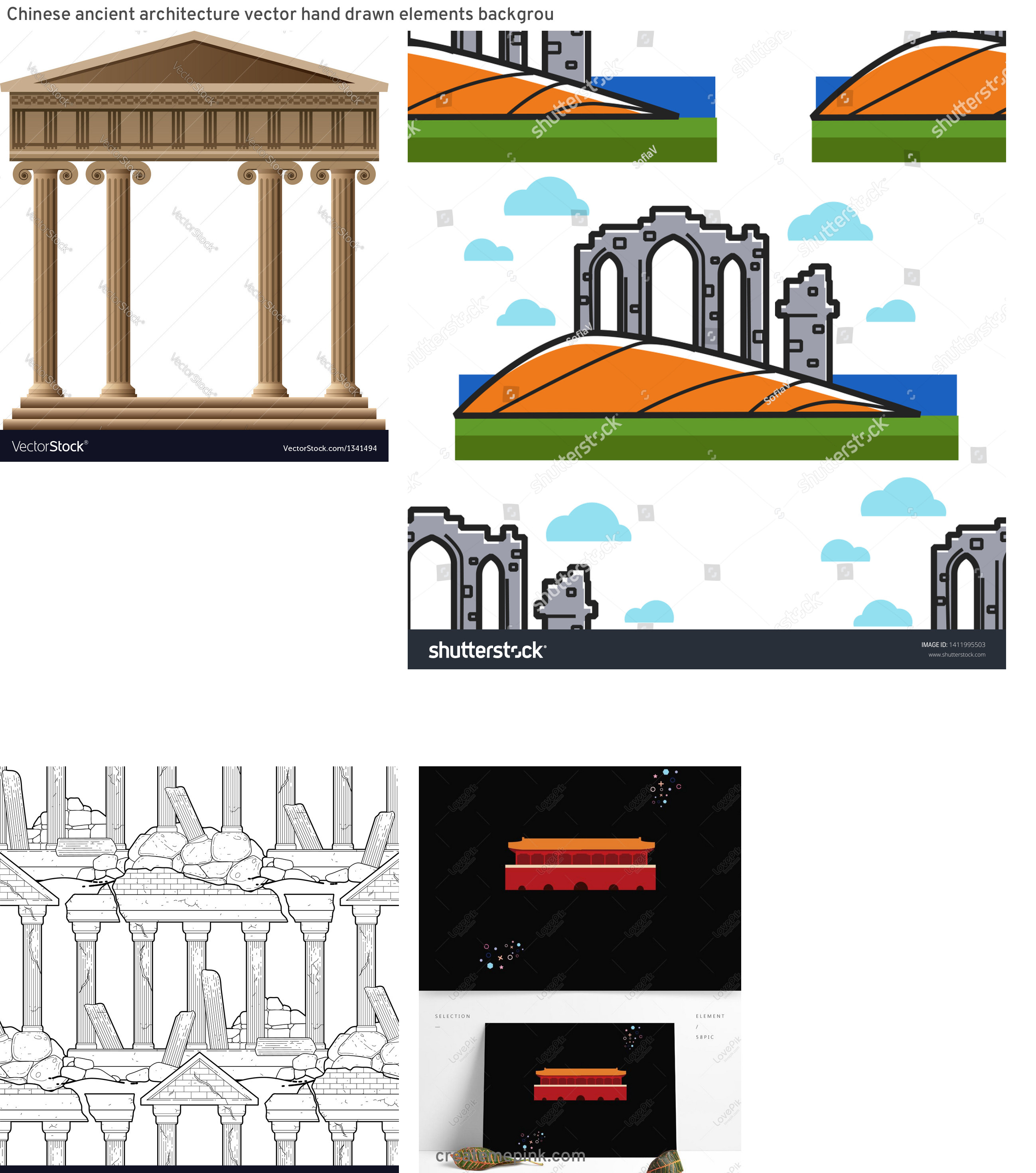 Ancient Architecture Vector: Chinese Ancient Architecture Vector Hand Drawn Elements Backgrou
