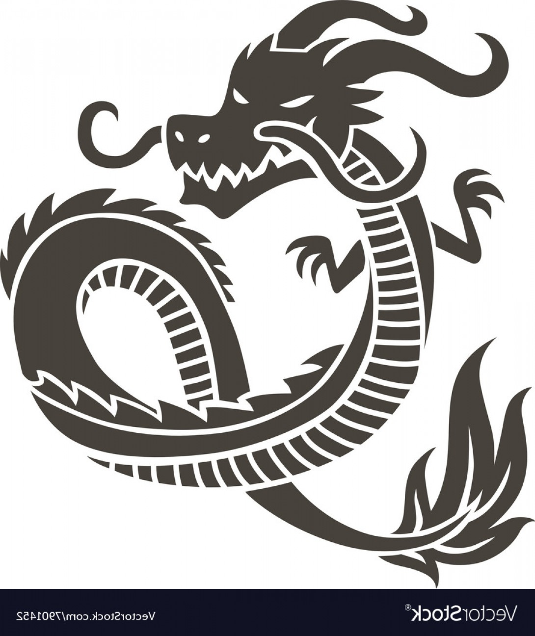 Oriental Dragon Vector: Chinese Dragon On White Background Vector