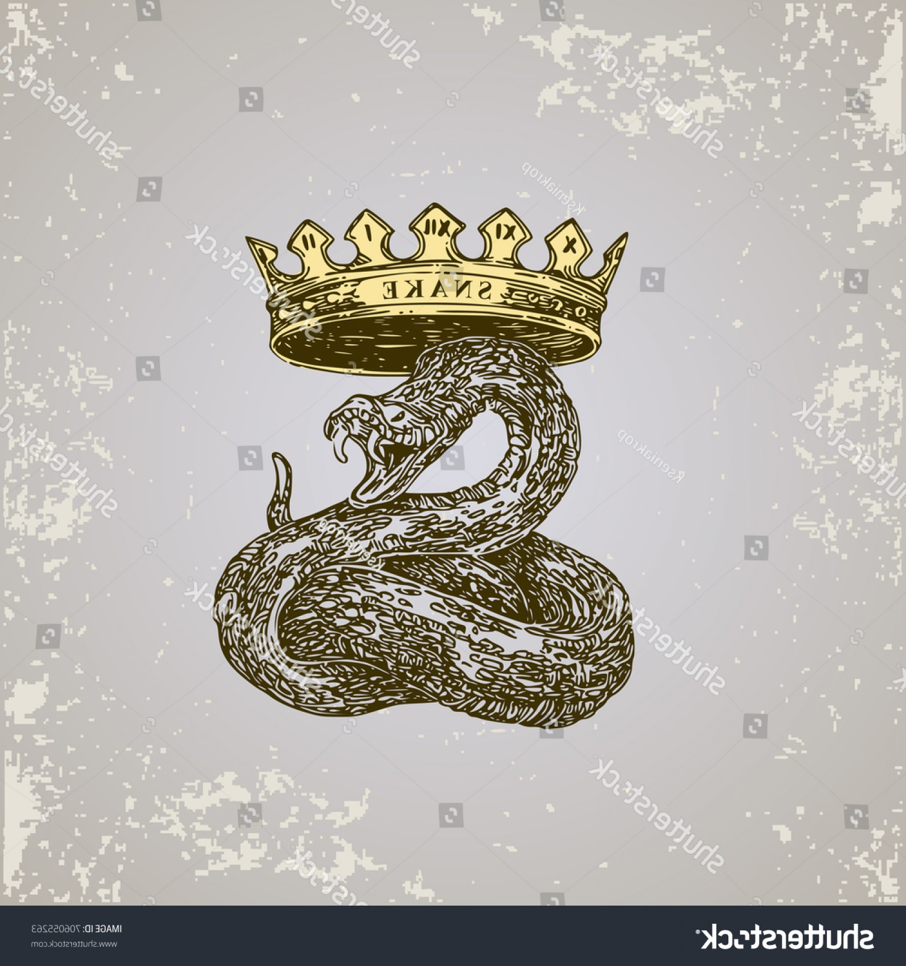 Snake Crown Vector: Chinese Horoscope Snake Sketch Tattoo Vector