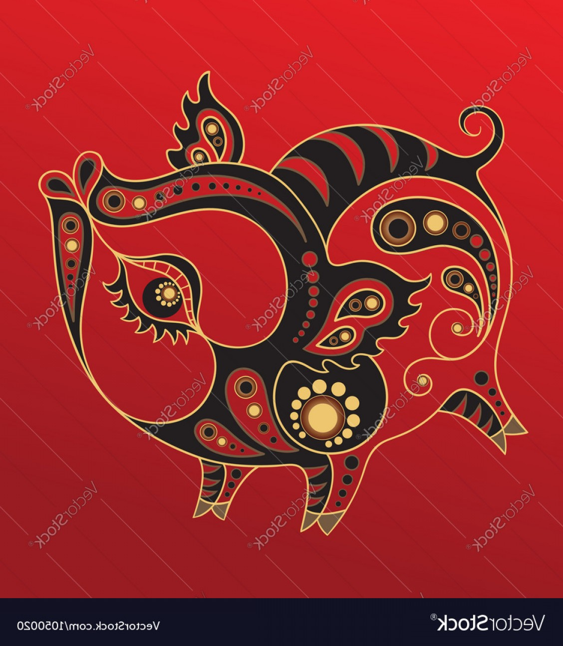 Vector Chinese Horoscope: Chinese Horoscope Year Of The Pig Vector