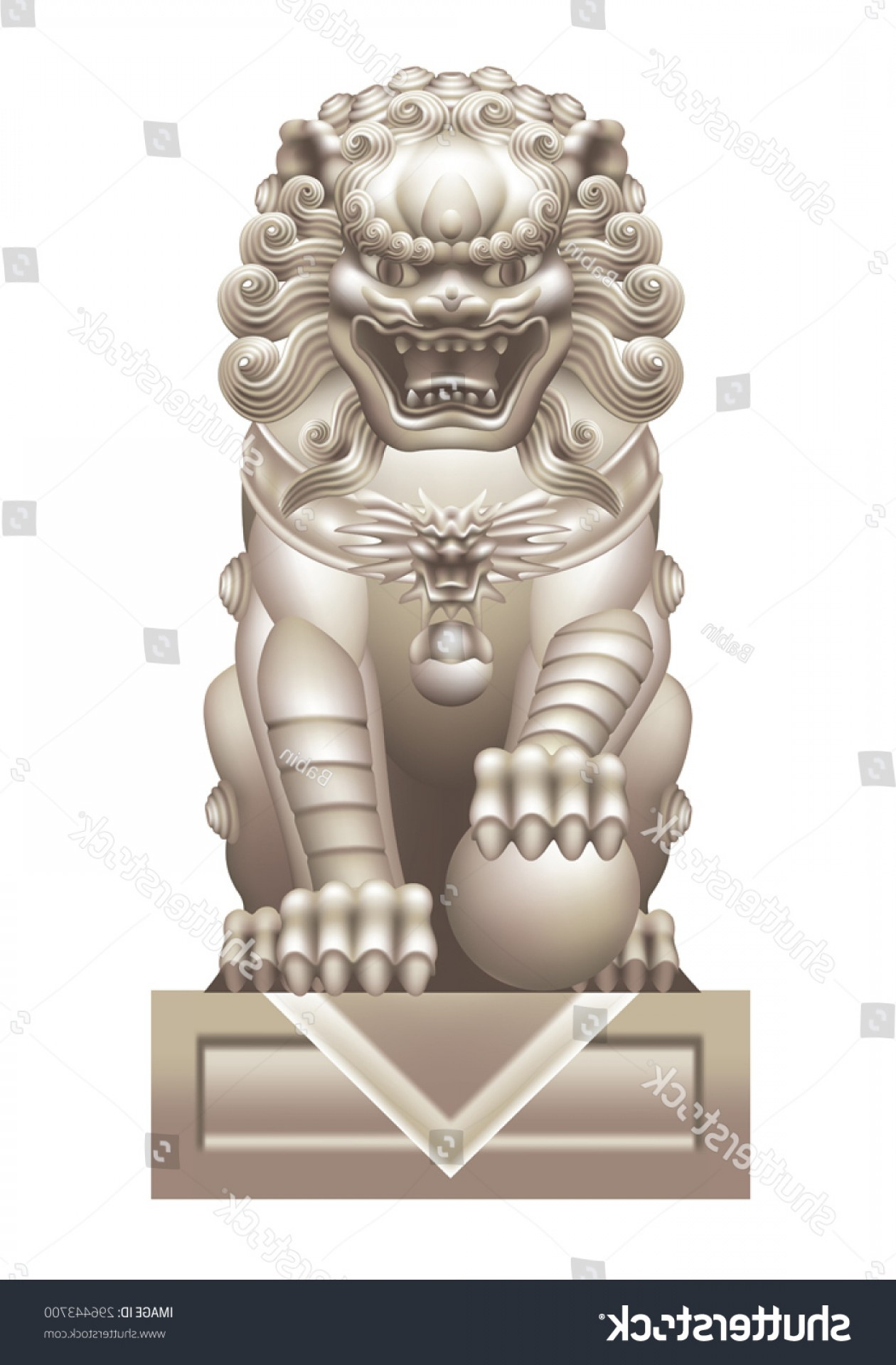 Faith Lions Vector Art Images: Chinese Lion On White Background