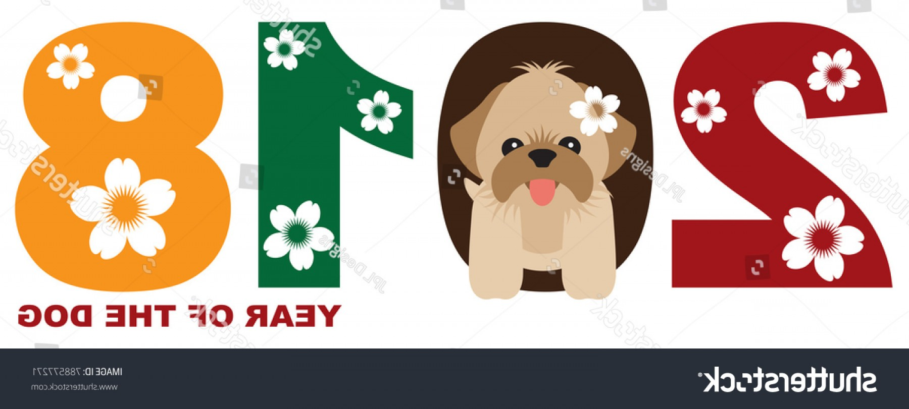 Shih Tzu Vector Siluete: Chinese Lunar New Year Dog