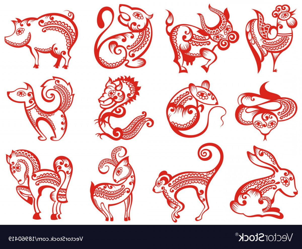 Vector Chinese Horoscope: Chinese Zodiac Animals In Paper Cut Style Vector