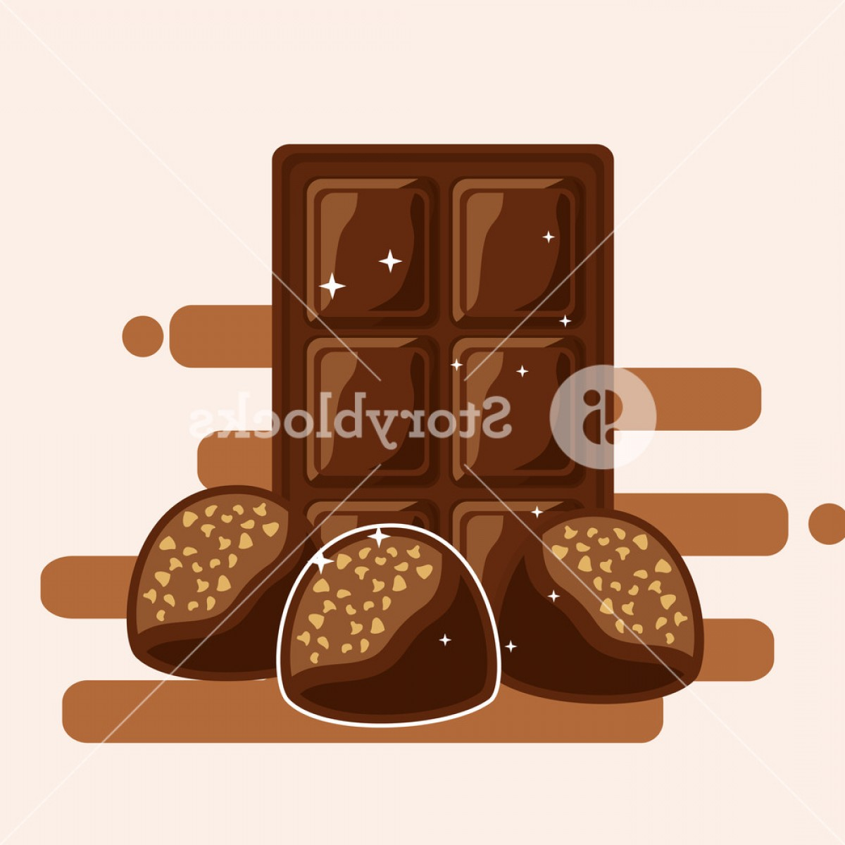 Snack Vector: Chocolate Bar And Candies With Nuts Dessert Snack Vector Illustration Rzweaagjgvwr